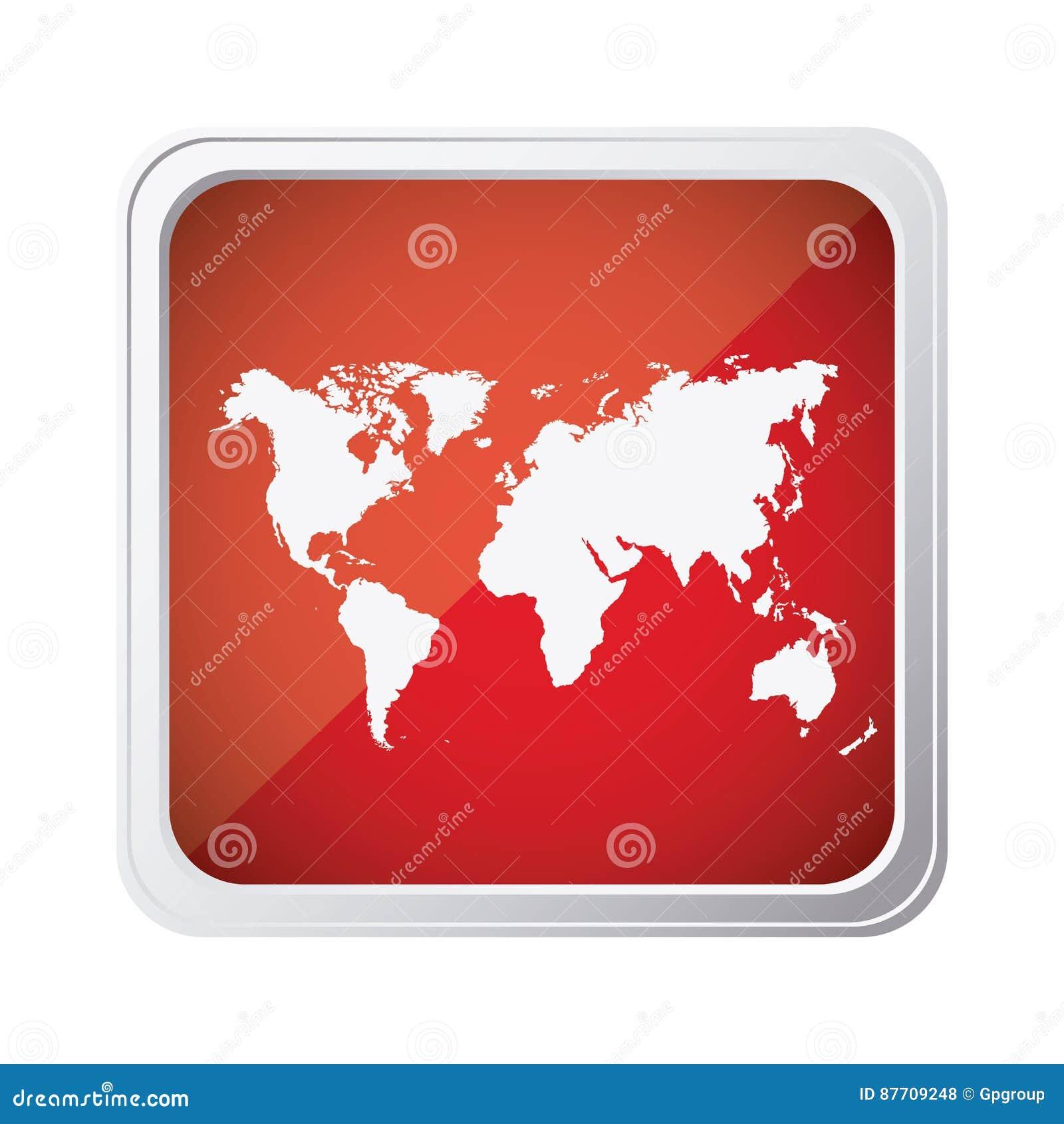 Icône rouge de carte de planète de la terre d emblème