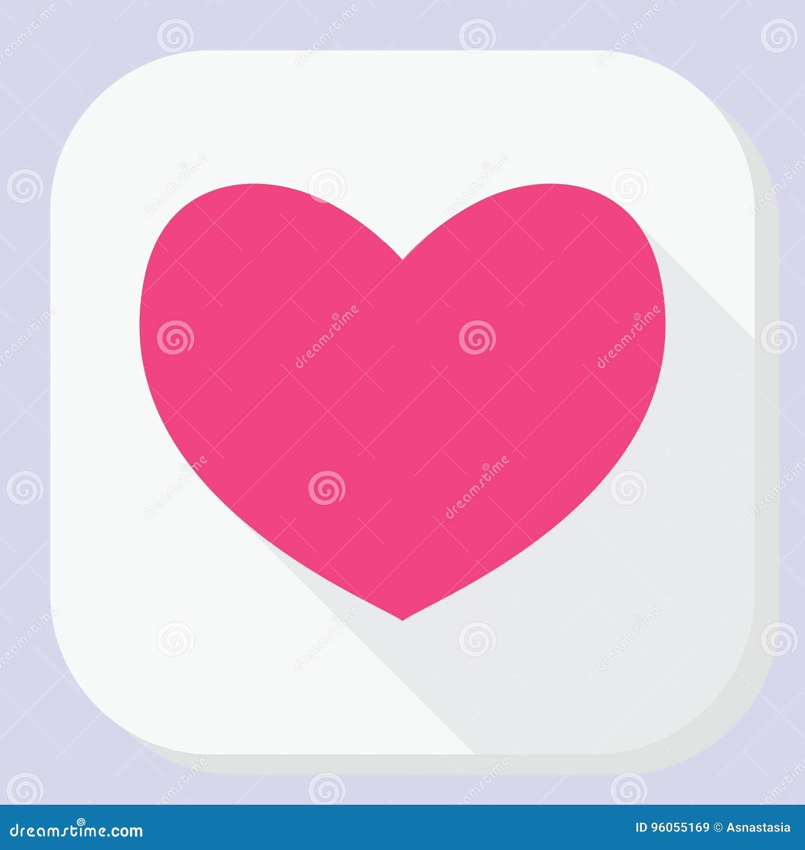 Icône rouge de coeur avec la longue ombre Signe plat simple moderne de forme de sentiments Internet bleu de concept de couleur de