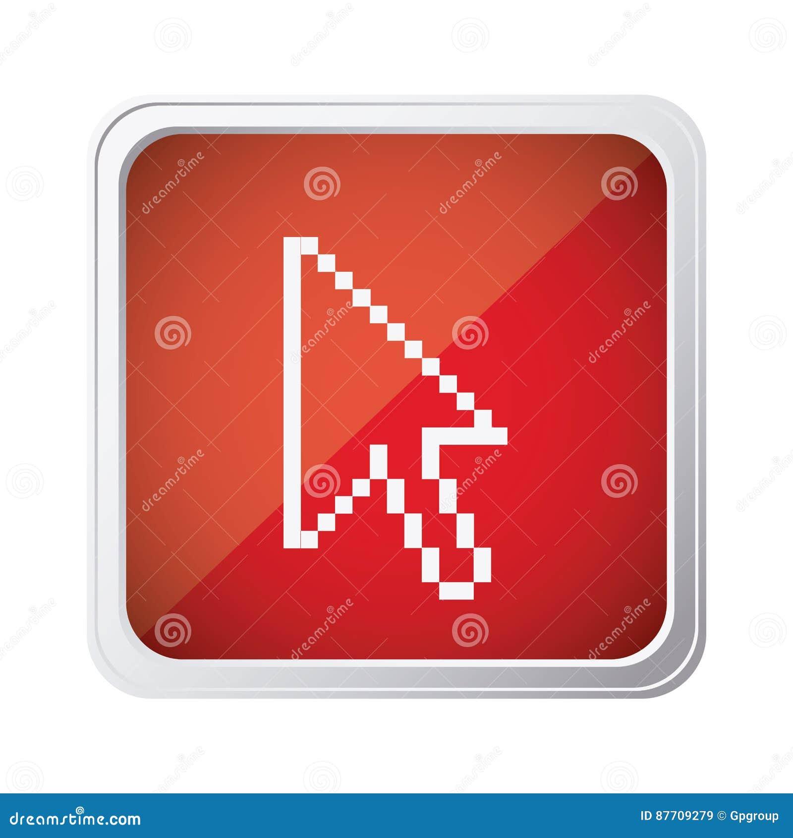 Icône rouge de curseur de souris d emblème