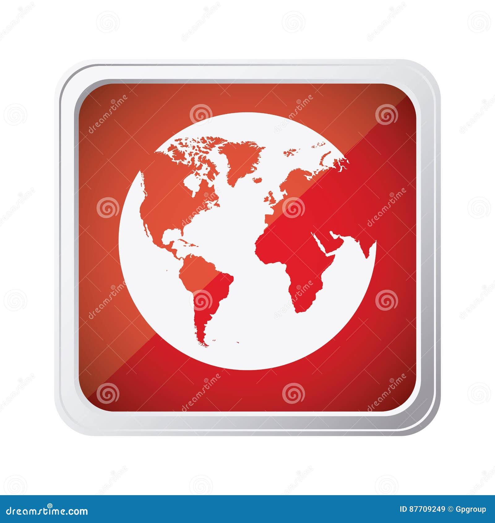 Icône rouge de planète de la terre d emblème