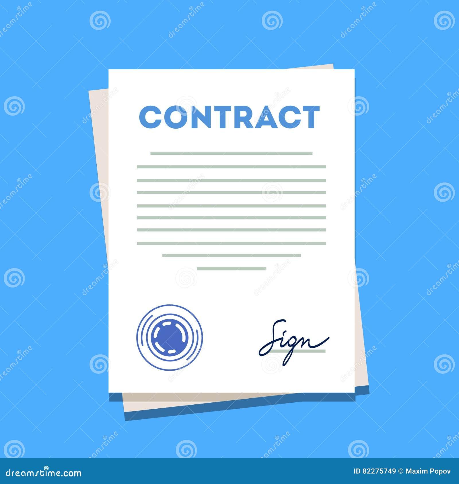 Icône signée et emboutie de papier de contrat