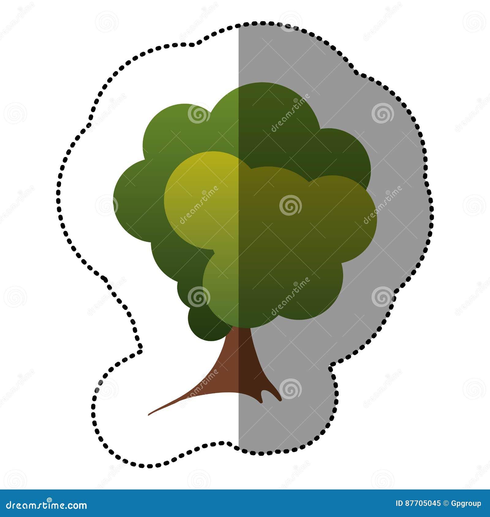 Icône stylisée d arbre de timbre de couleur