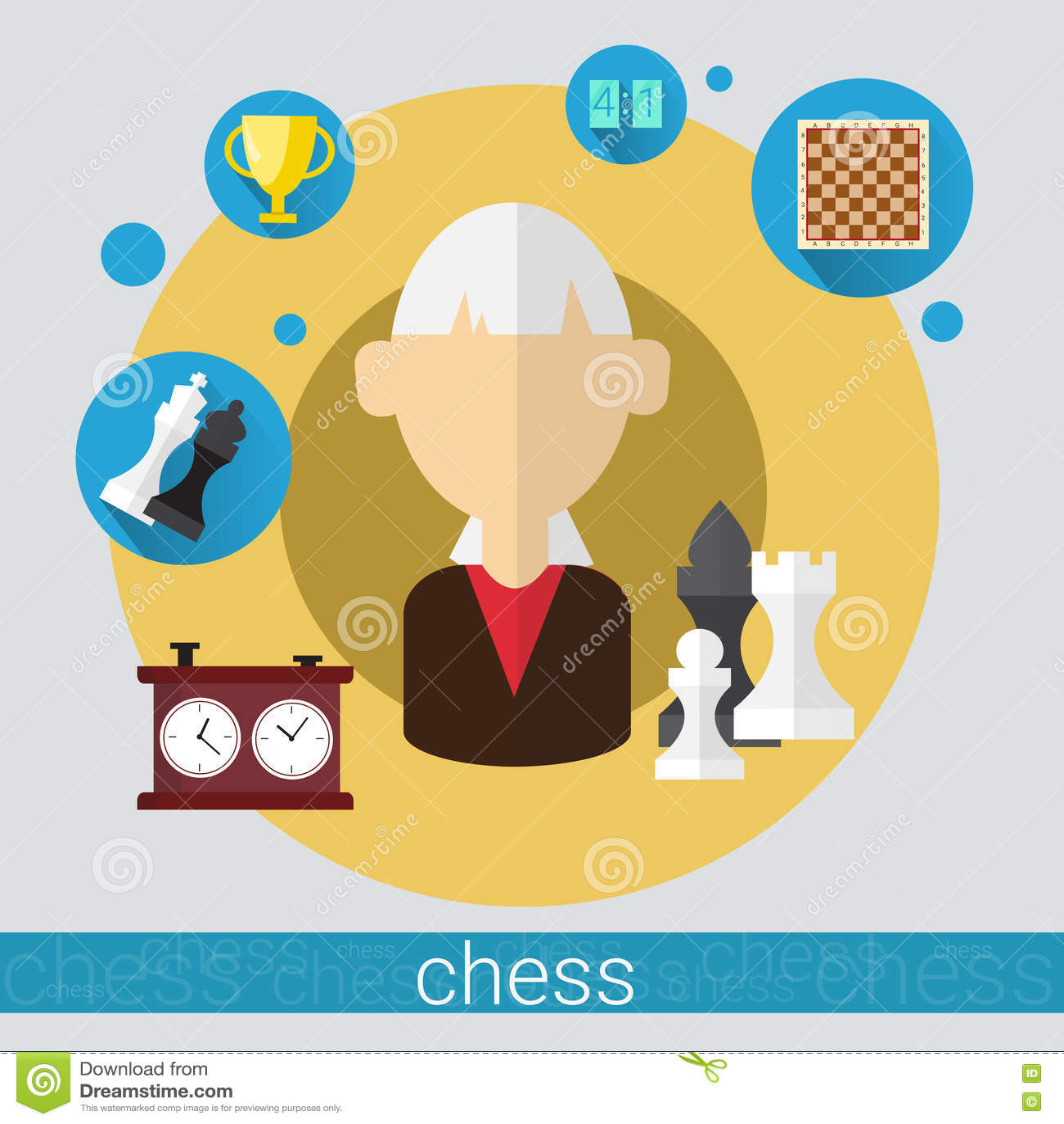 Icône supérieure de femme de joueur de jeu d échecs