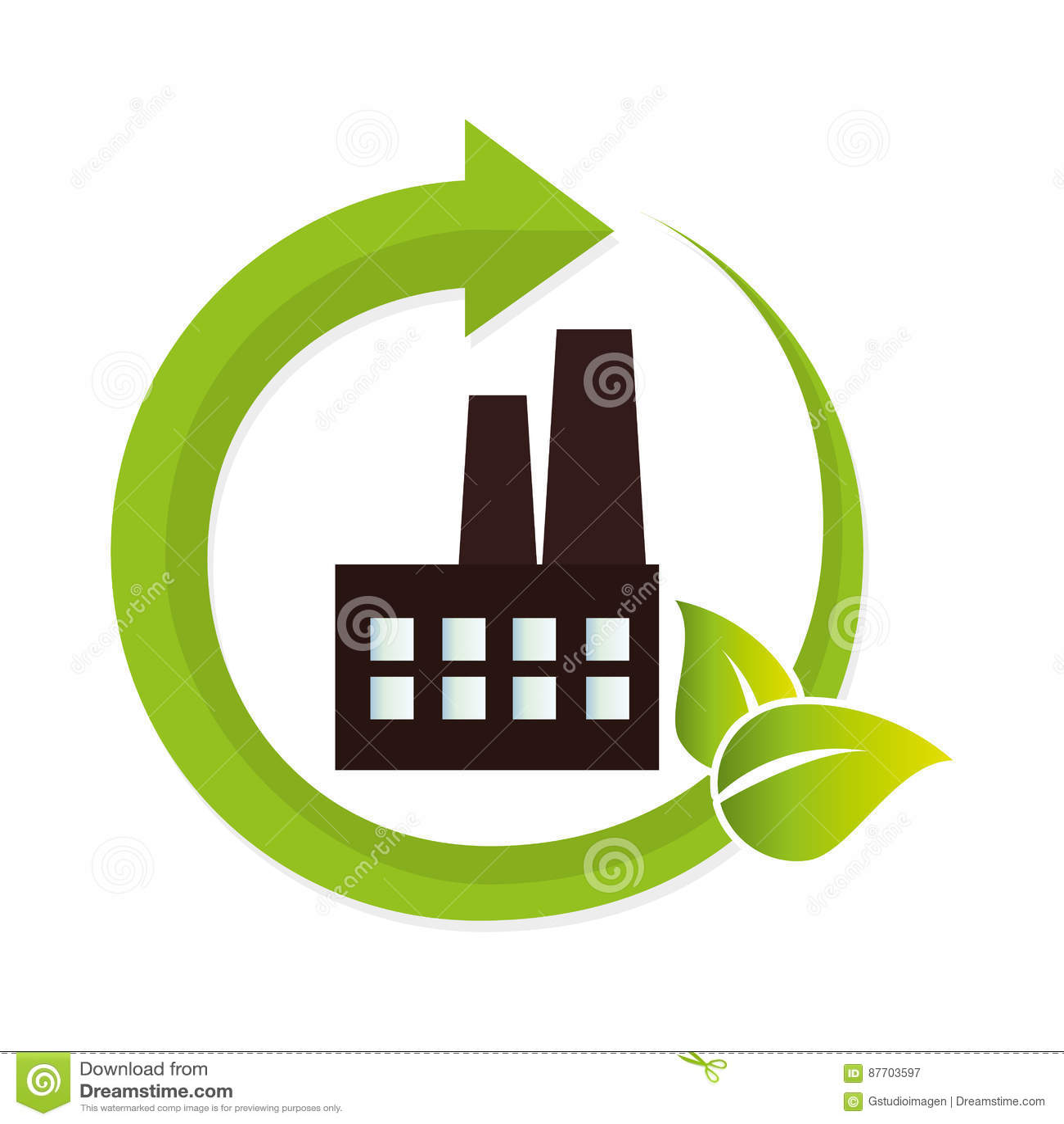 Icône verte de bâtiment d usine