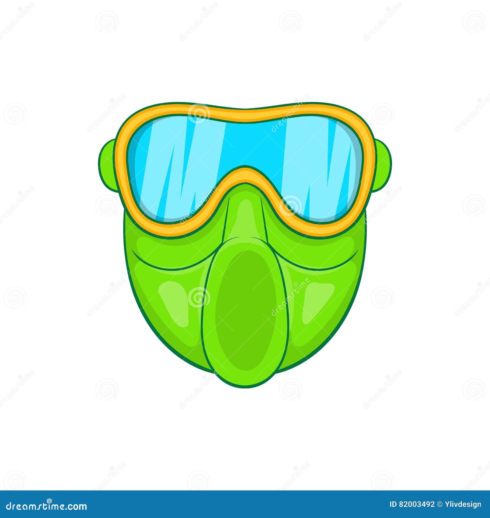 Icône verte de masque de paintball, style de bande dessinée