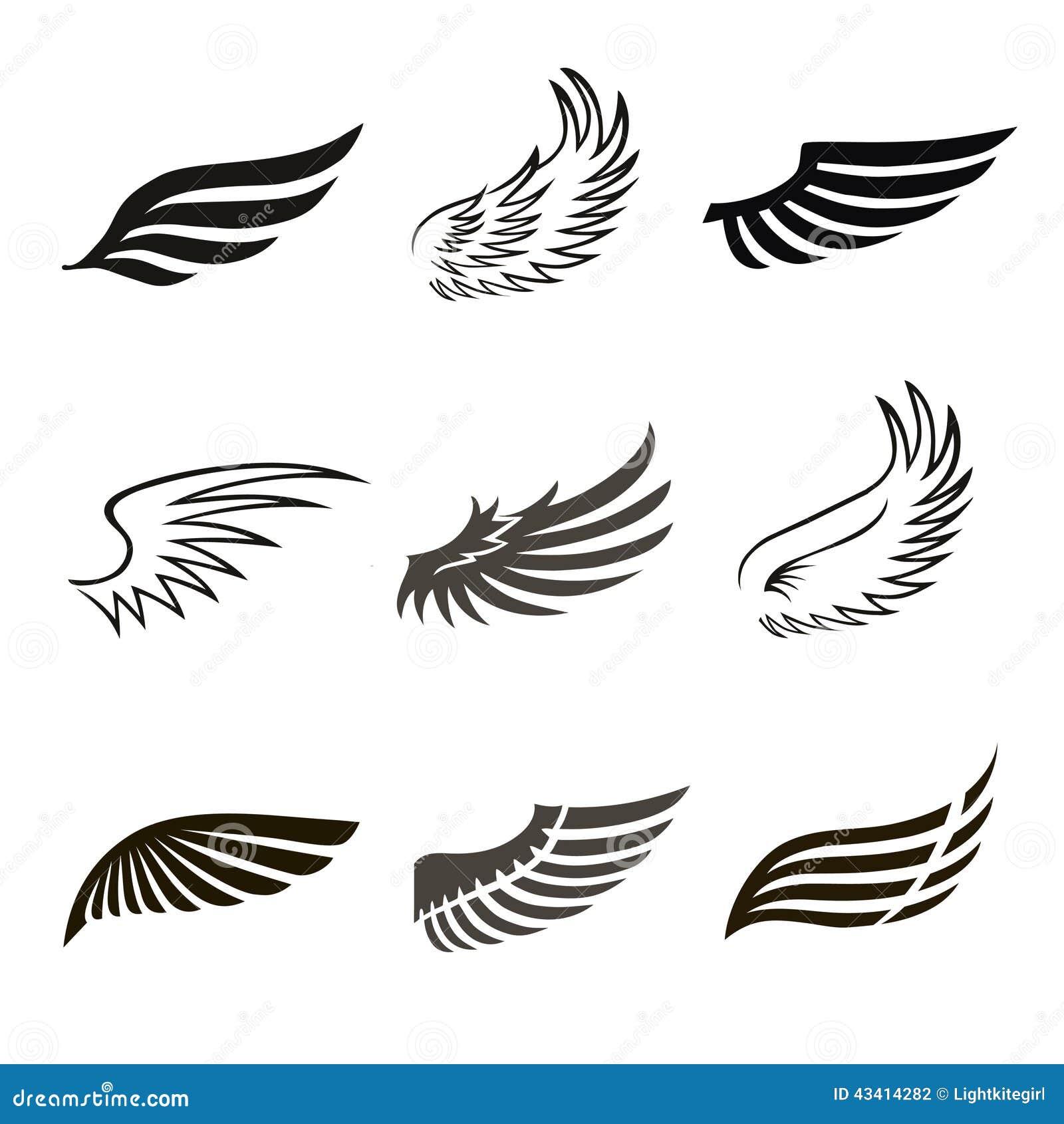 Icônes abstraites d ailes d ange ou d oiseau de plume réglées