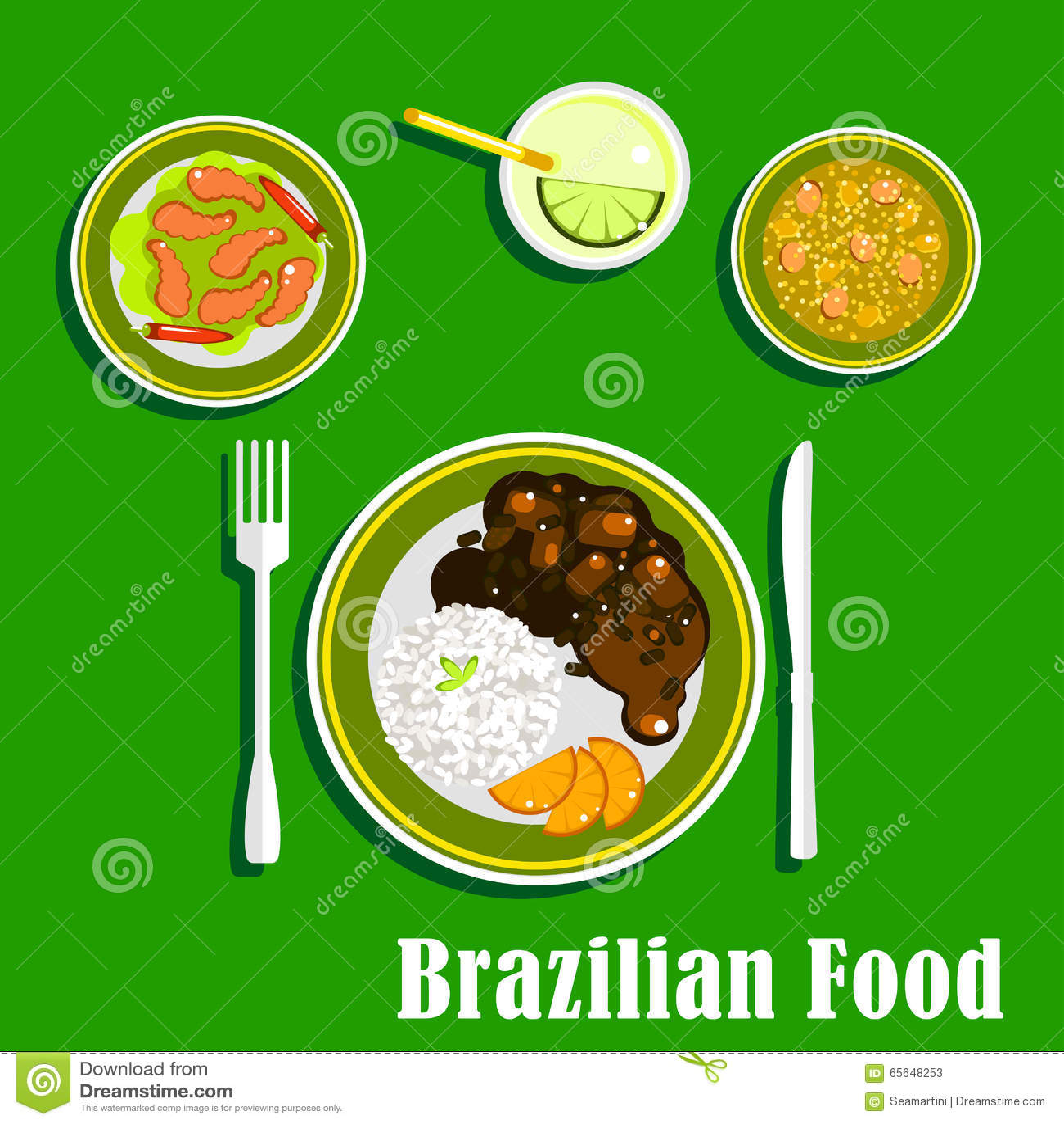 Icônes brésiliennes de cuisine avec les plats nationaux
