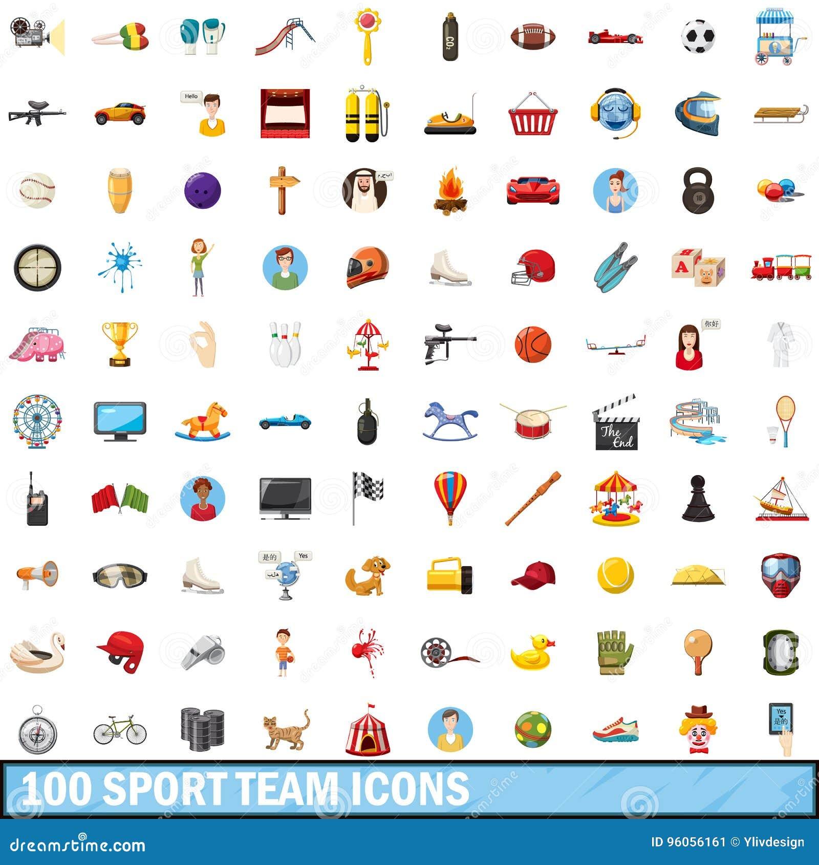 100 icônes d équipe de sport réglées, style de bande dessinée