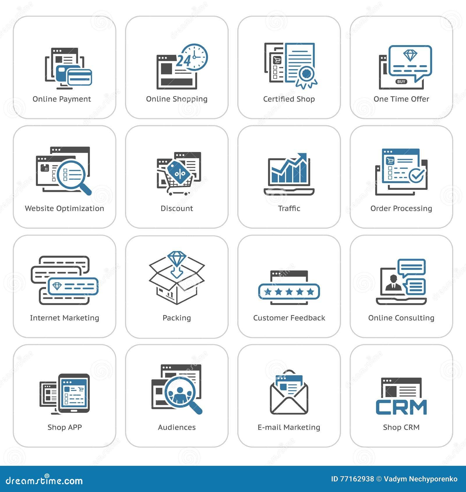 Icônes d achats et de vente réglées