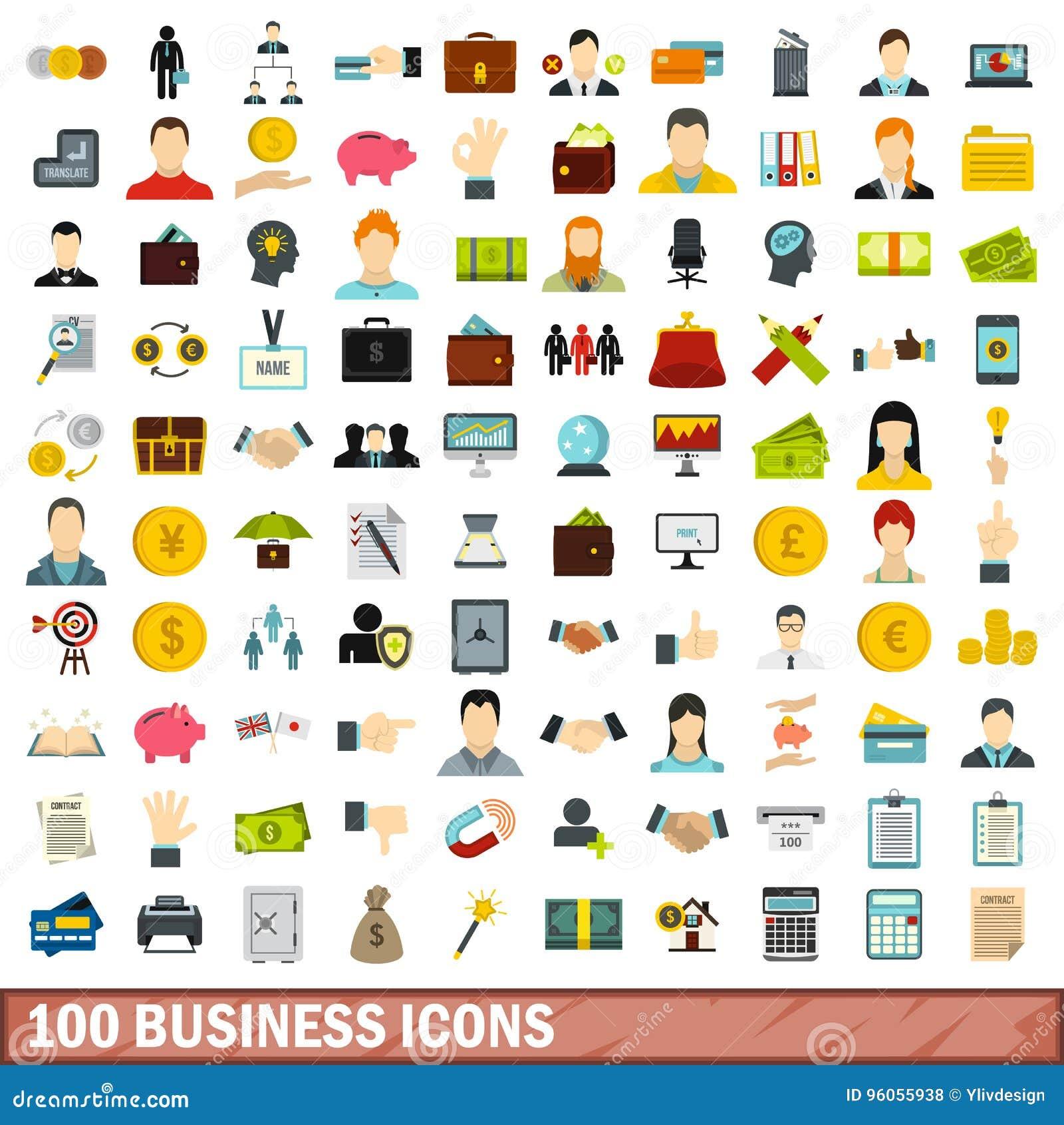 100 icônes d affaires réglées, style plat