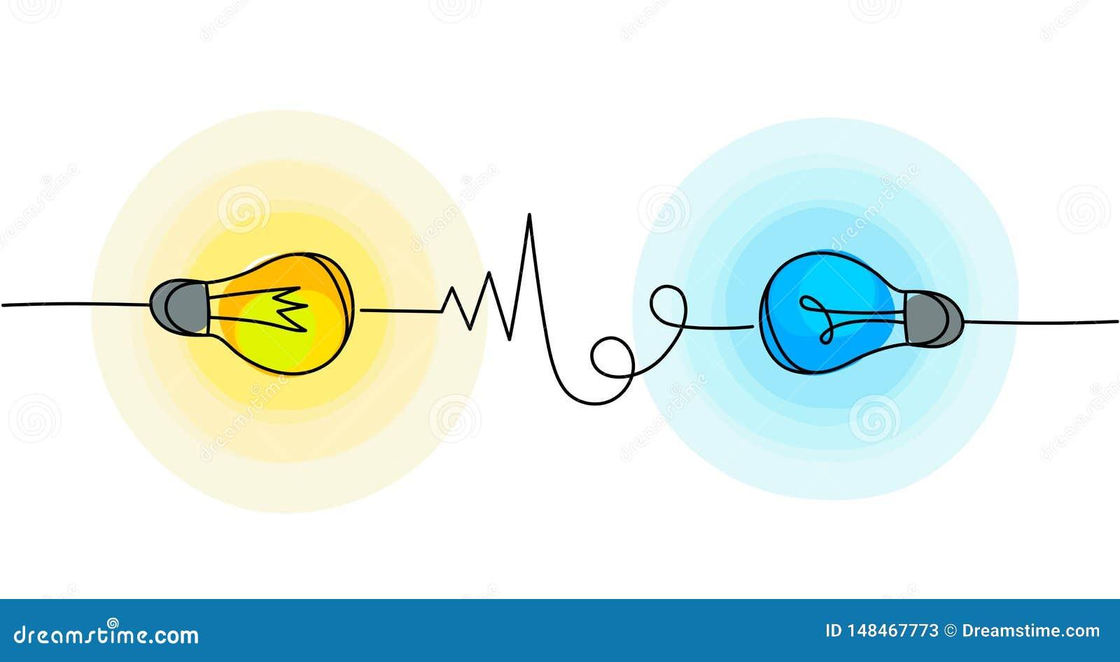 Ic?nes d ampoule de vecteur Symboles d énergie et d idée