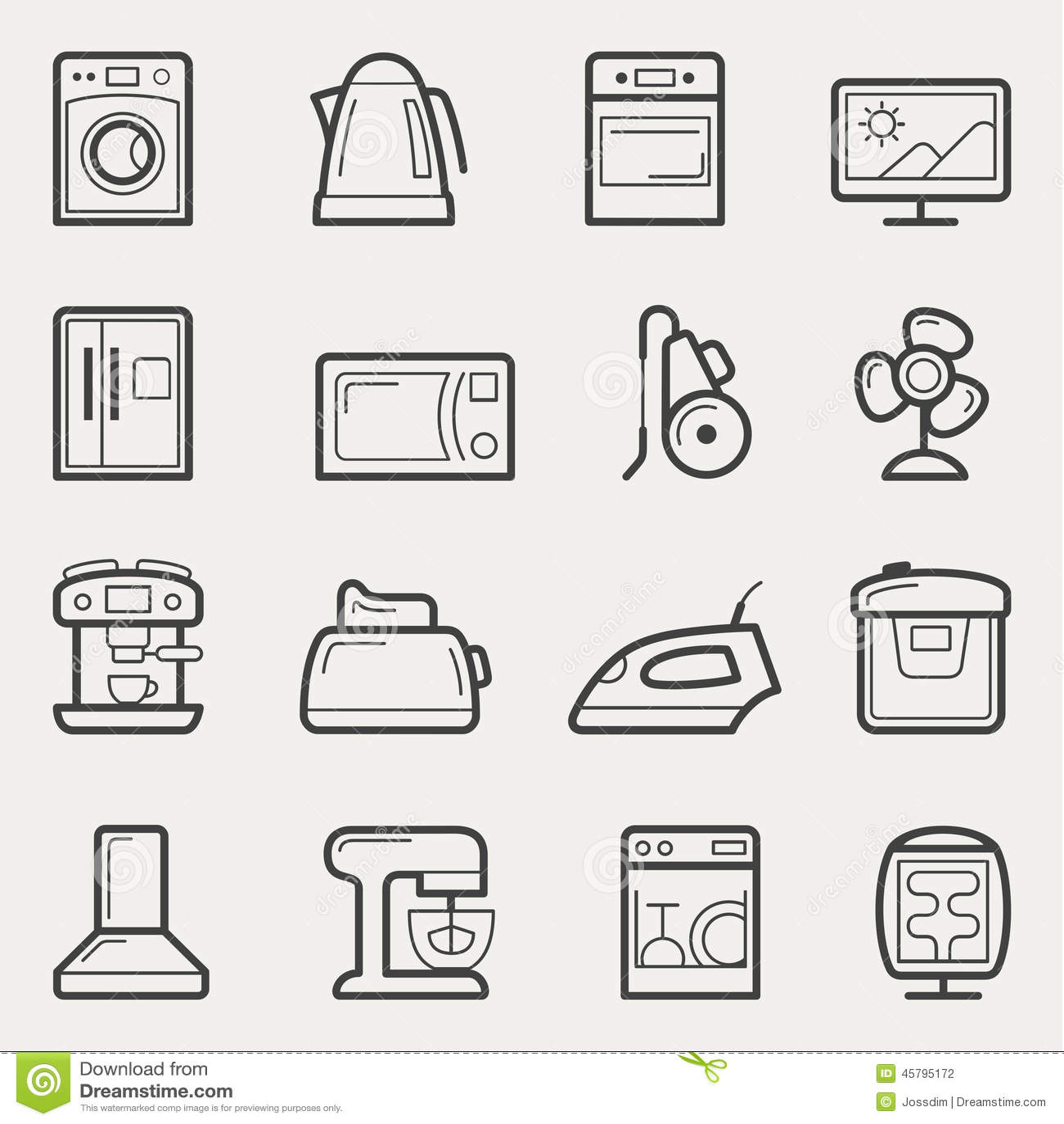ic nes d 39 appareils m nagers machine laver th i re four tv refrig illustration de vecteur. Black Bedroom Furniture Sets. Home Design Ideas