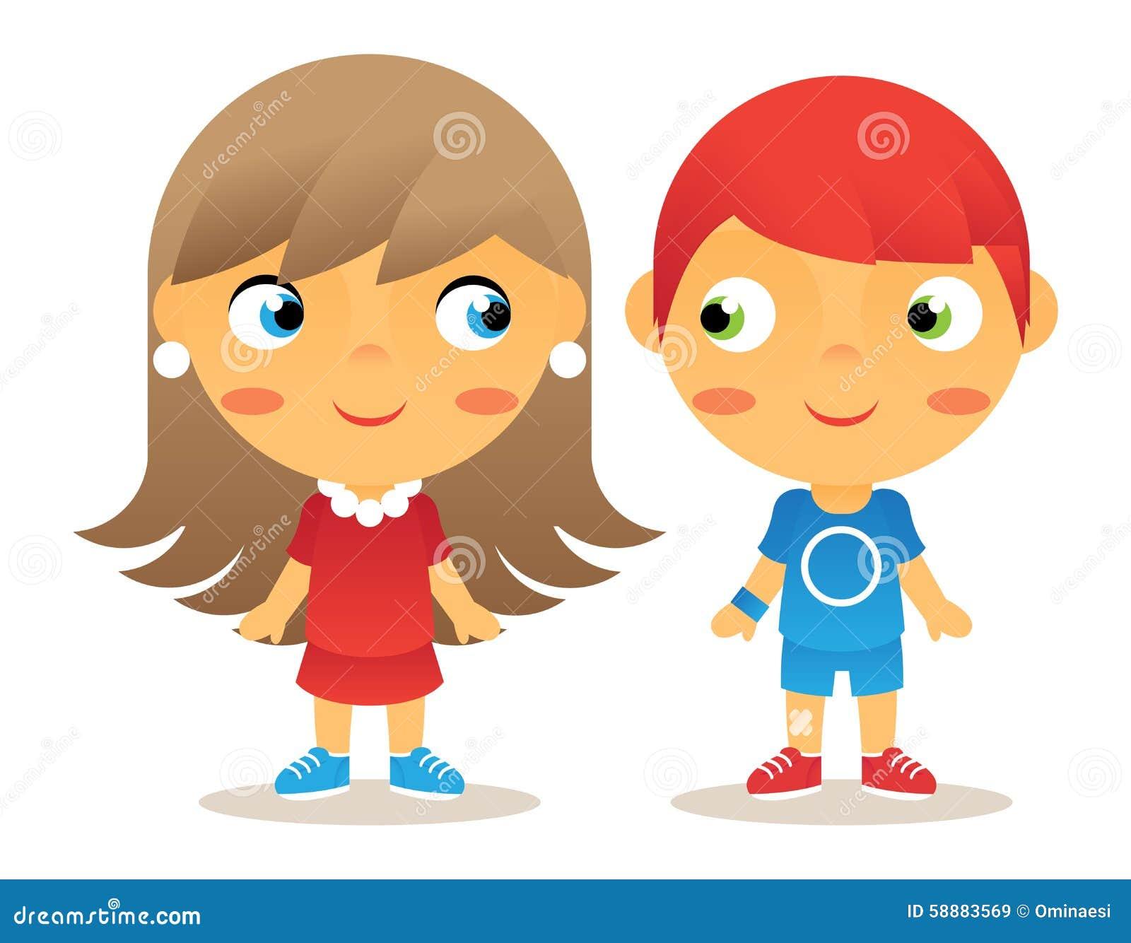 Ic nes d 39 enfants de personnage de dessin anim de fille et de gar on illustration de vecteur - Foto de garcon ...
