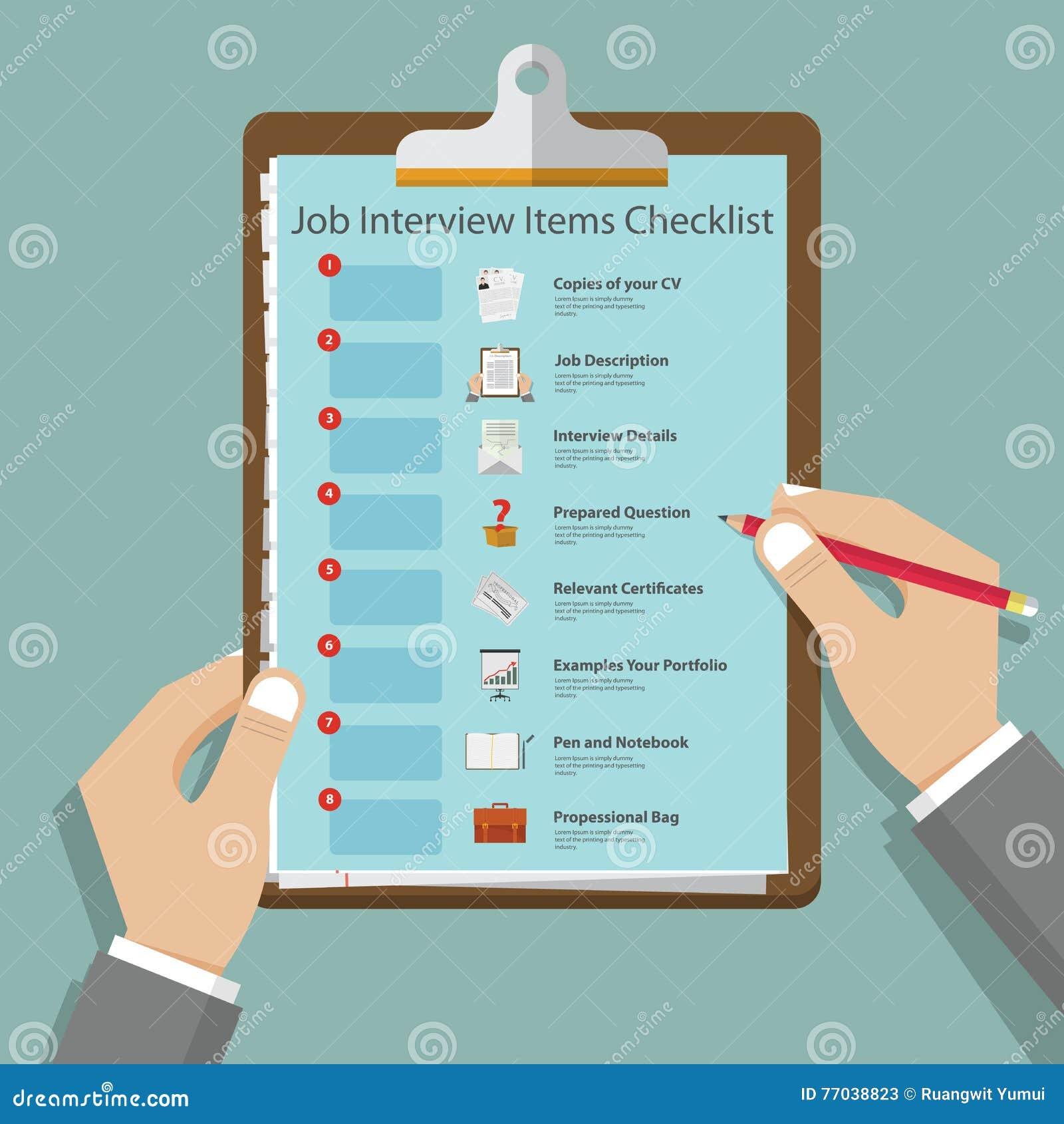 Icônes d entrevue d emploi dans la conception plate sur le presse-papiers Préparation d entrevue d emploi infographic Vecteur