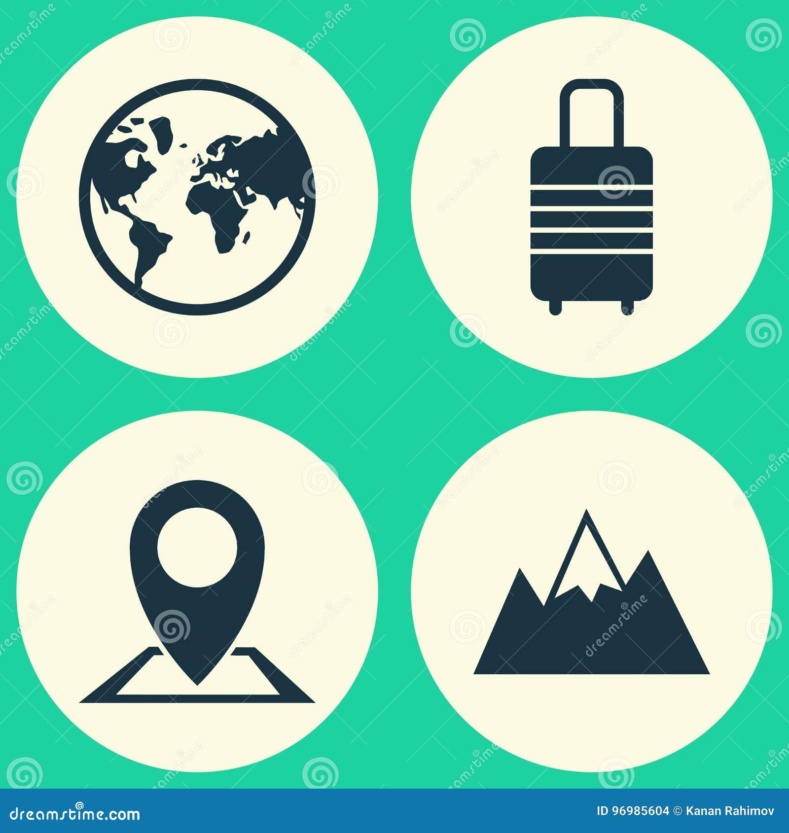 Icônes d exploration réglées Collection de bâti, de valise, d emplacement et d autres éléments Inclut également des symboles tel