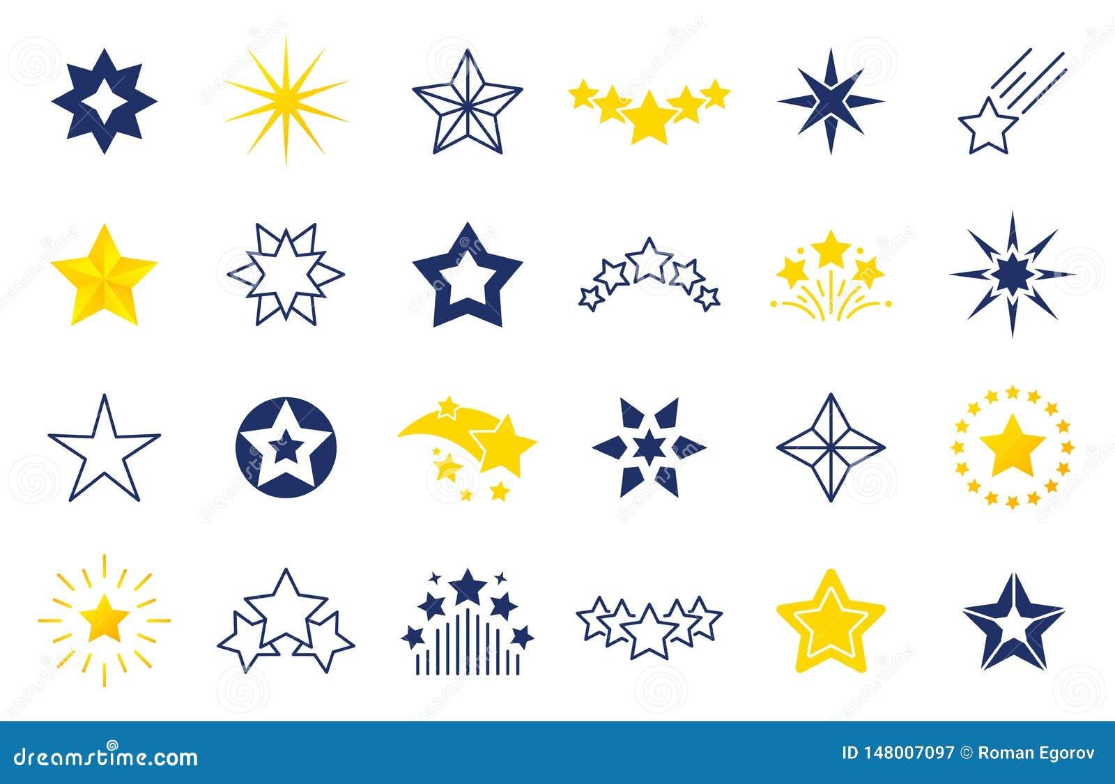 Ic?nes d ?toile Symboles de la meilleure qualité de noir et d ensemble des formes d étoile, quatre cinq labels six-aigus d étoile
