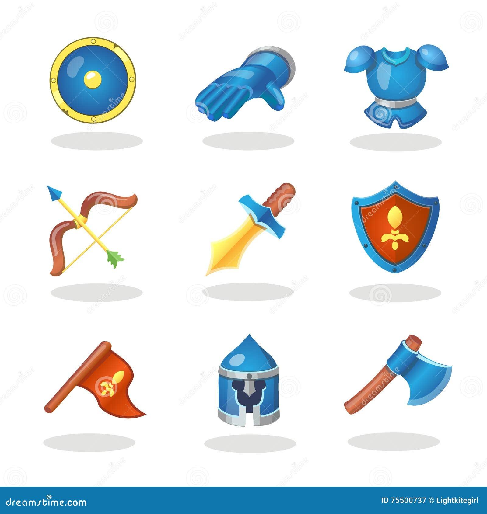 Icônes de bande dessinée d arme de chevalier réglées