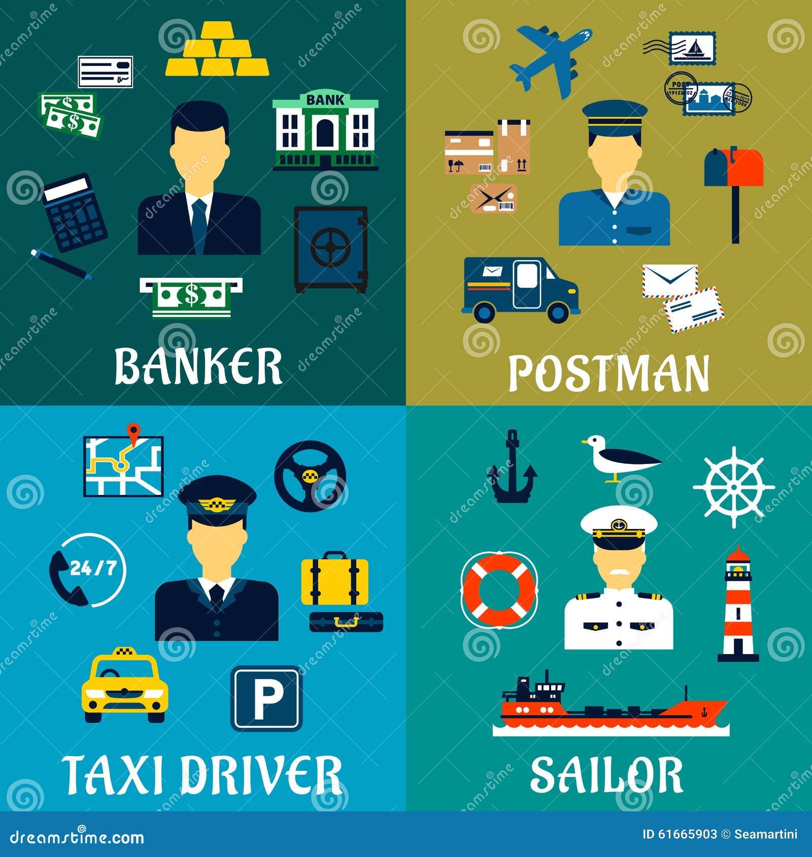 Icônes de banquier, de chauffeur de taxi, de facteur et de marin