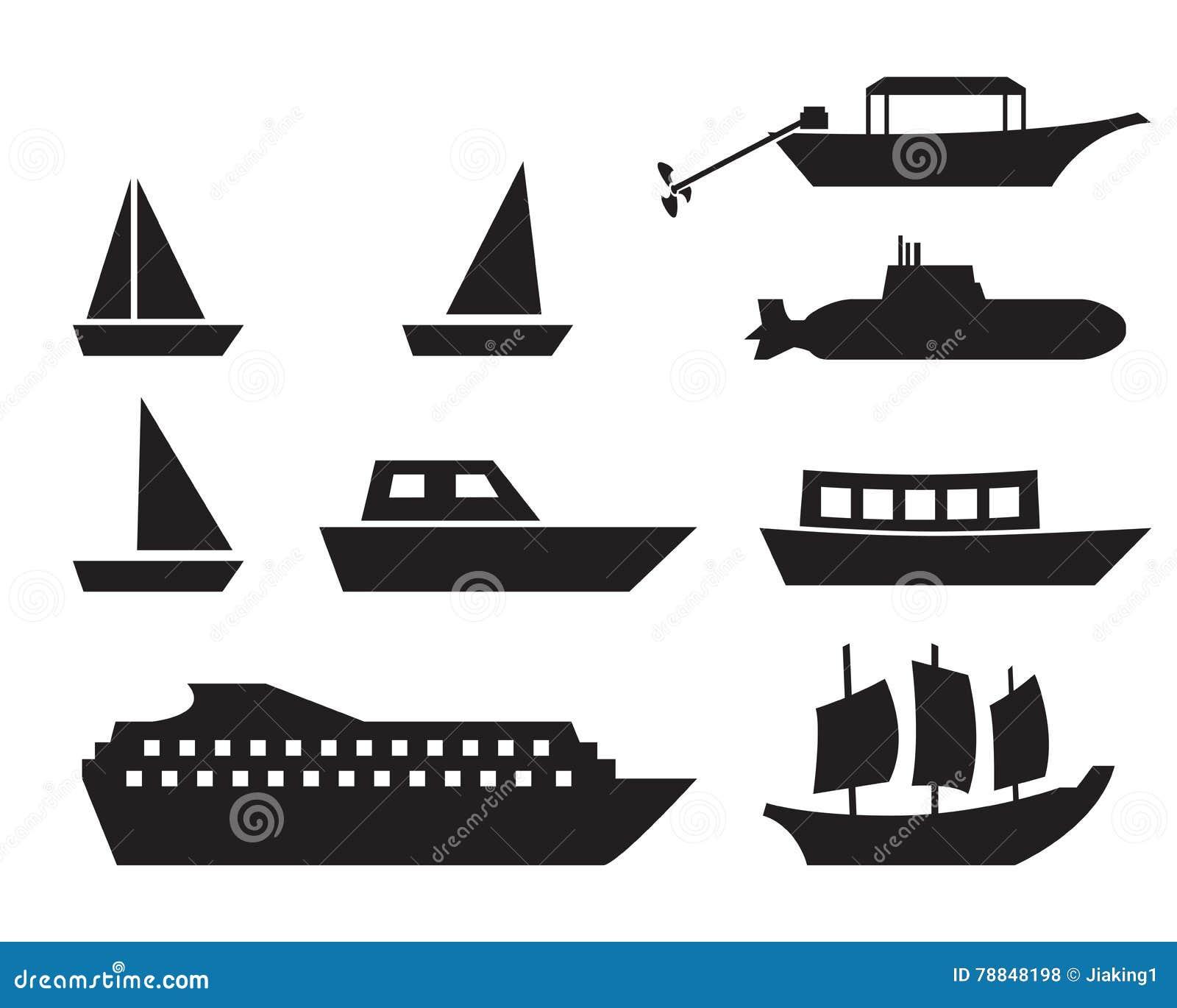 ic nes de bateau et de bateau dans le style simple vecteur illustration de vecteur. Black Bedroom Furniture Sets. Home Design Ideas
