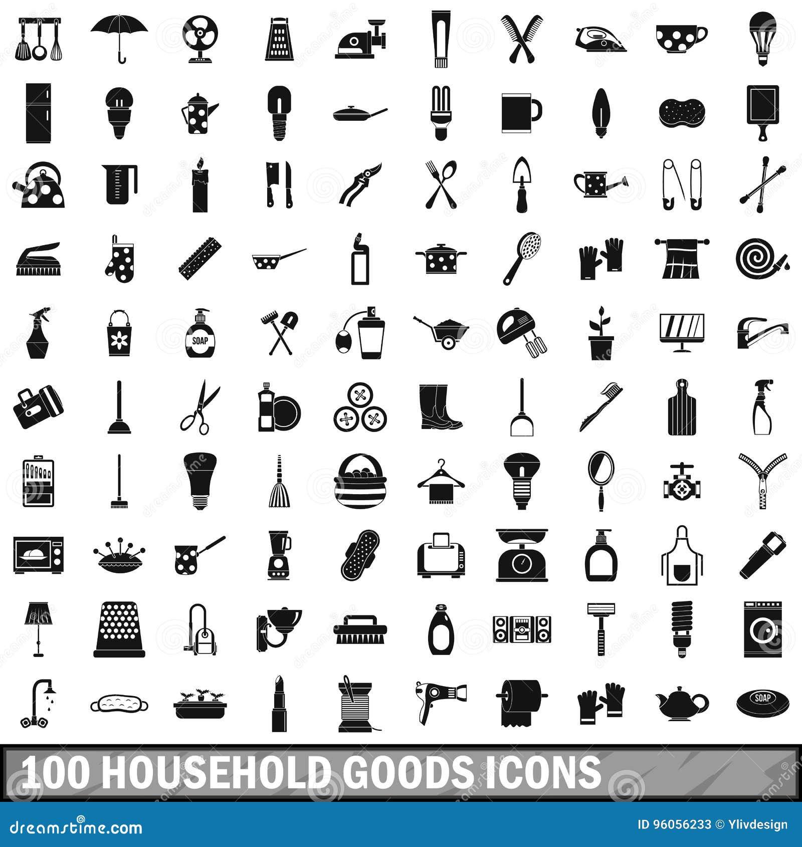 100 icônes de biens d équipement ménager réglées, style simple