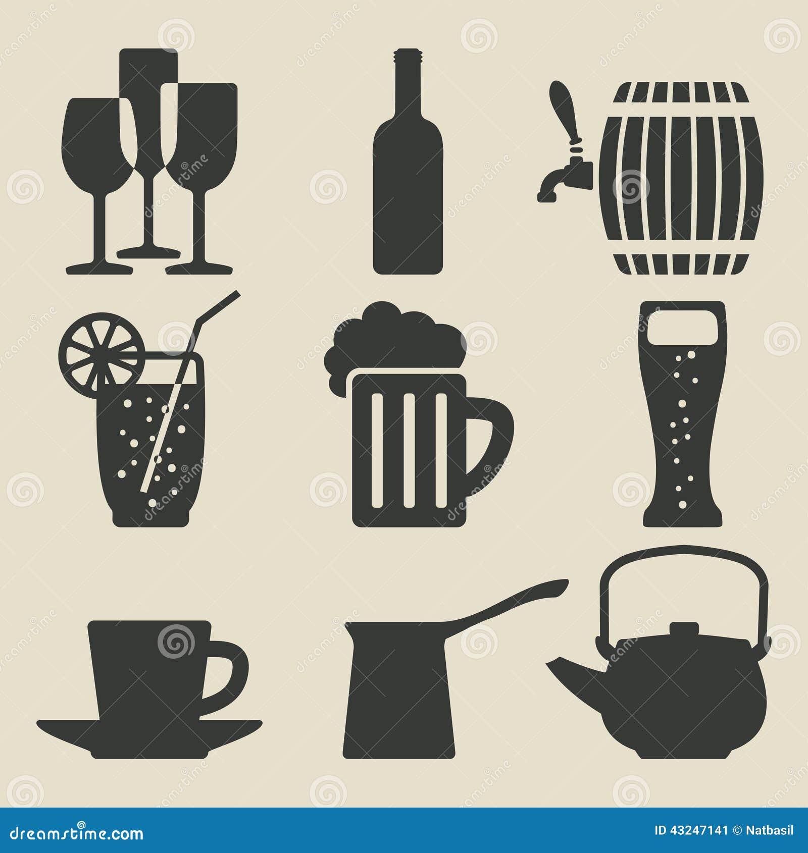 Icônes de boissons réglées