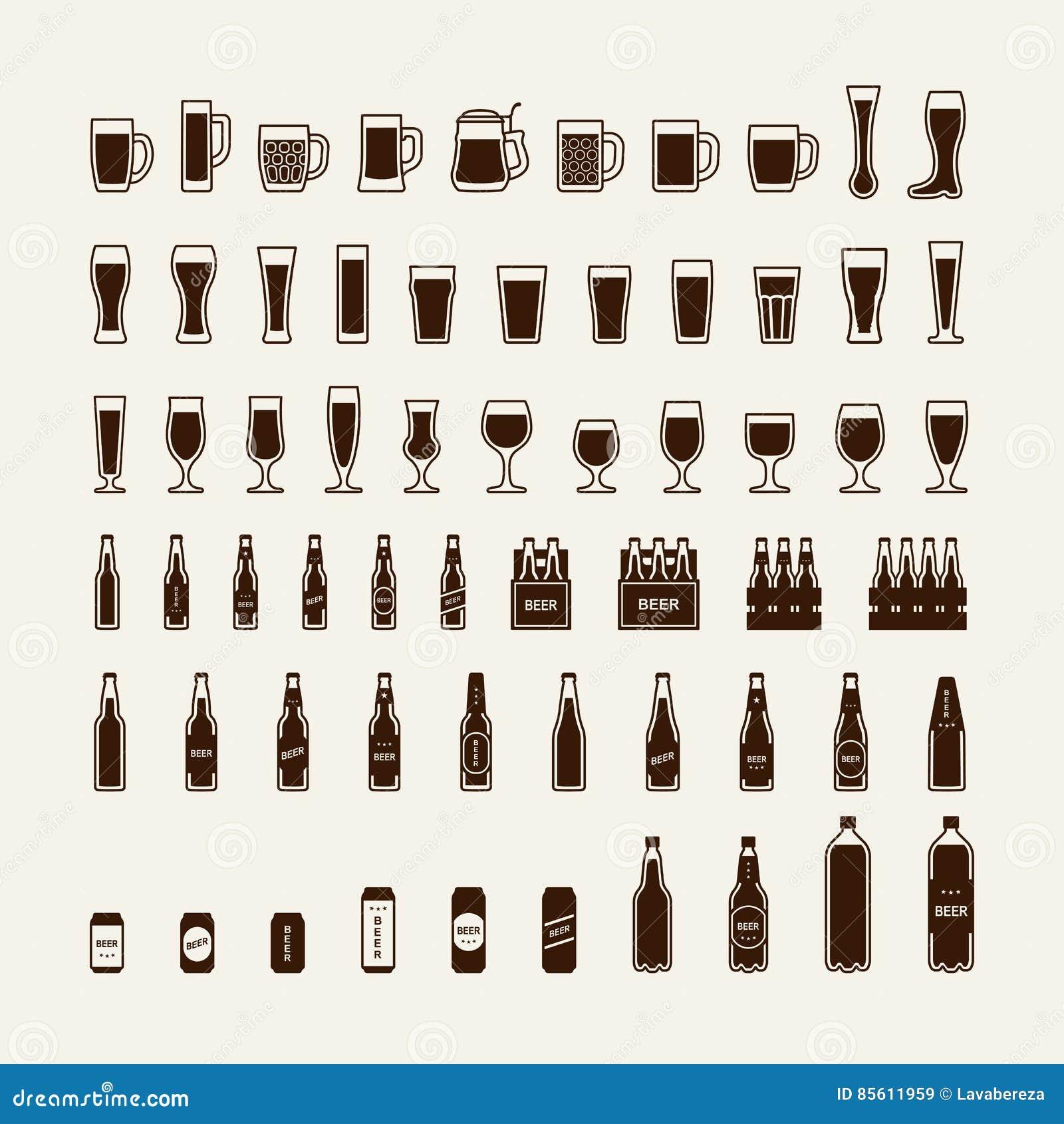 Icônes de bouteilles et en verre à bière réglées Vecteur