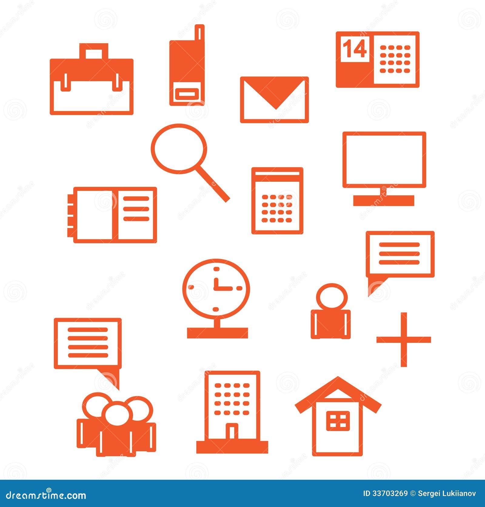 ic nes de bureau en rouge images libres de droits image. Black Bedroom Furniture Sets. Home Design Ideas