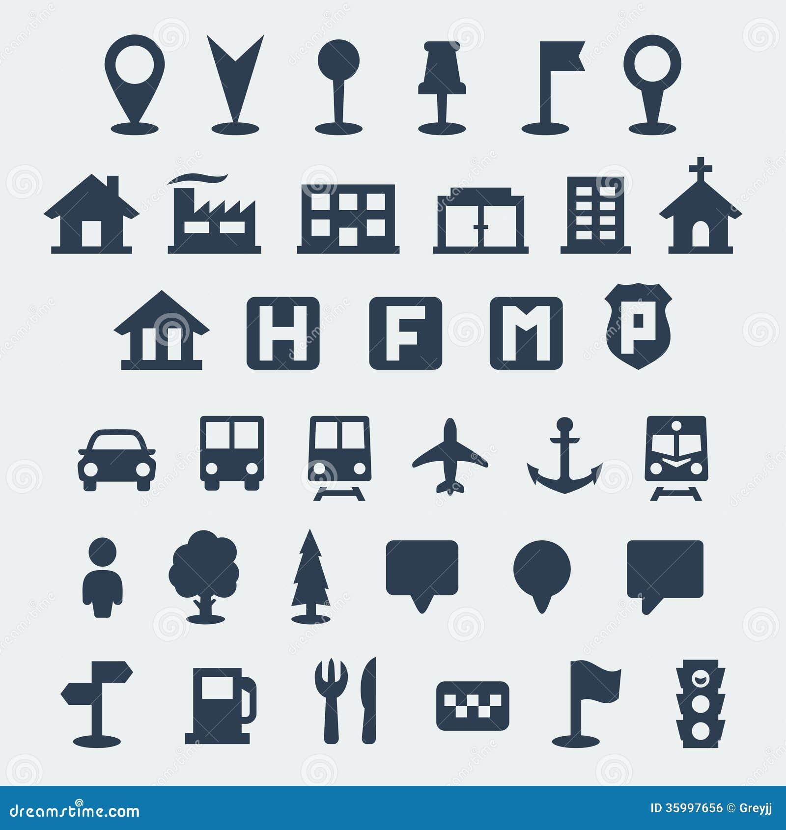 Icônes de carte de vecteur réglées