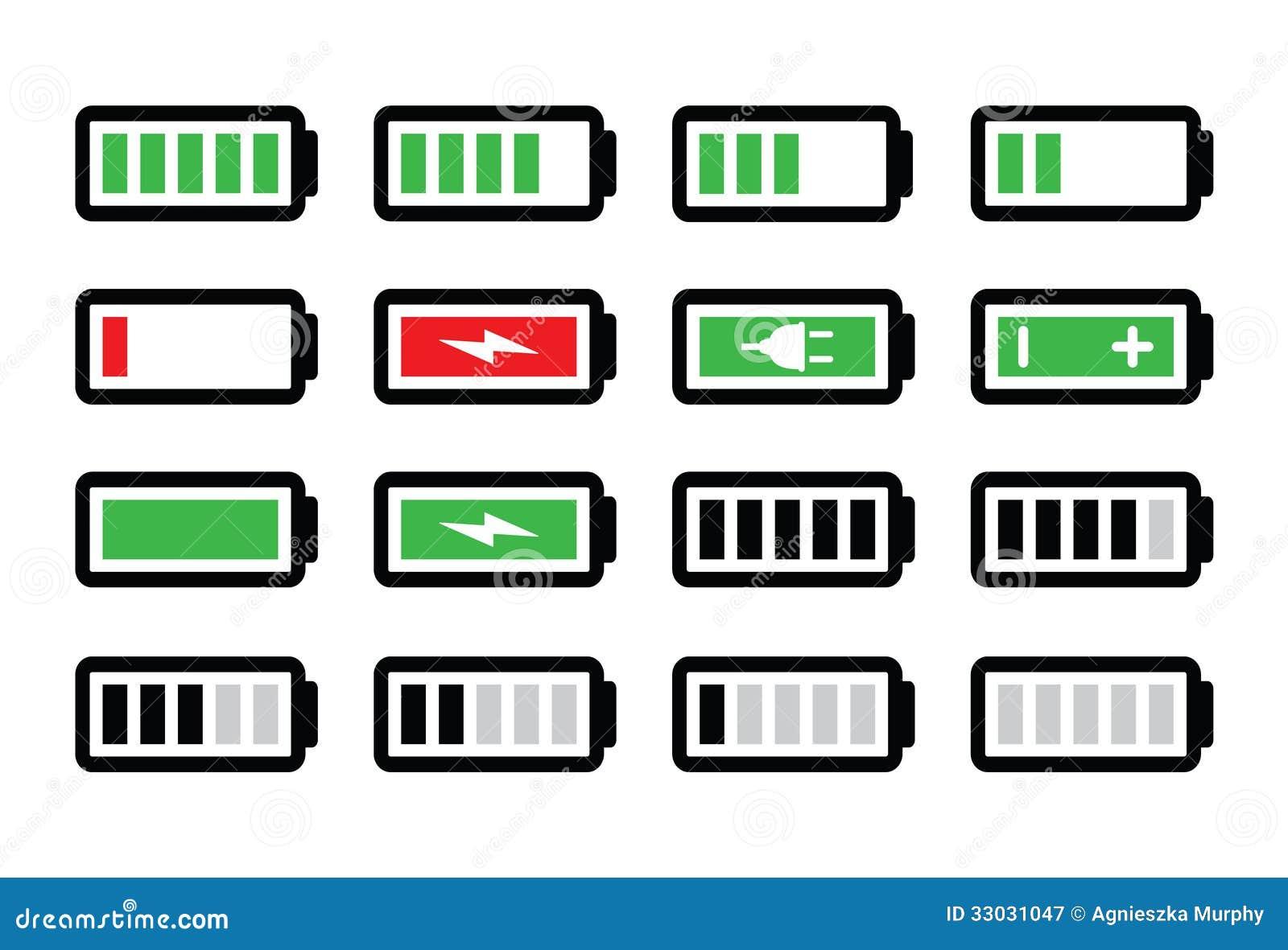 ic nes de charge de batterie r gl es illustration stock image 33031047. Black Bedroom Furniture Sets. Home Design Ideas