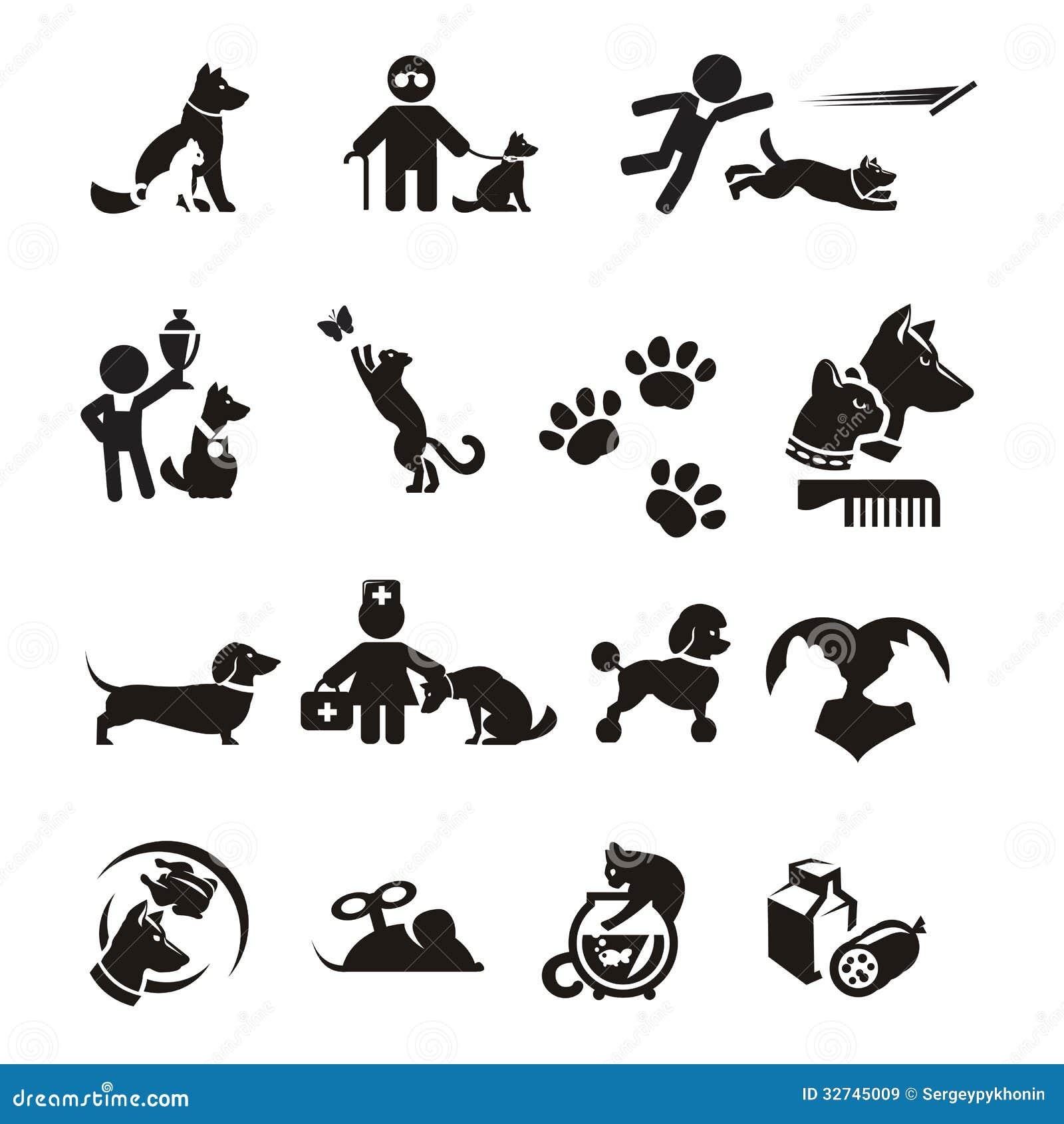 Icônes de chien et de chat réglées