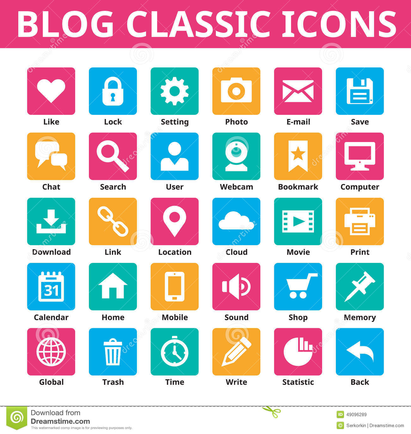 Icônes de classique de blog Les graphismes de vecteur ont placé Icônes minimales dans la couleur plate Icônes sociales de vecteur
