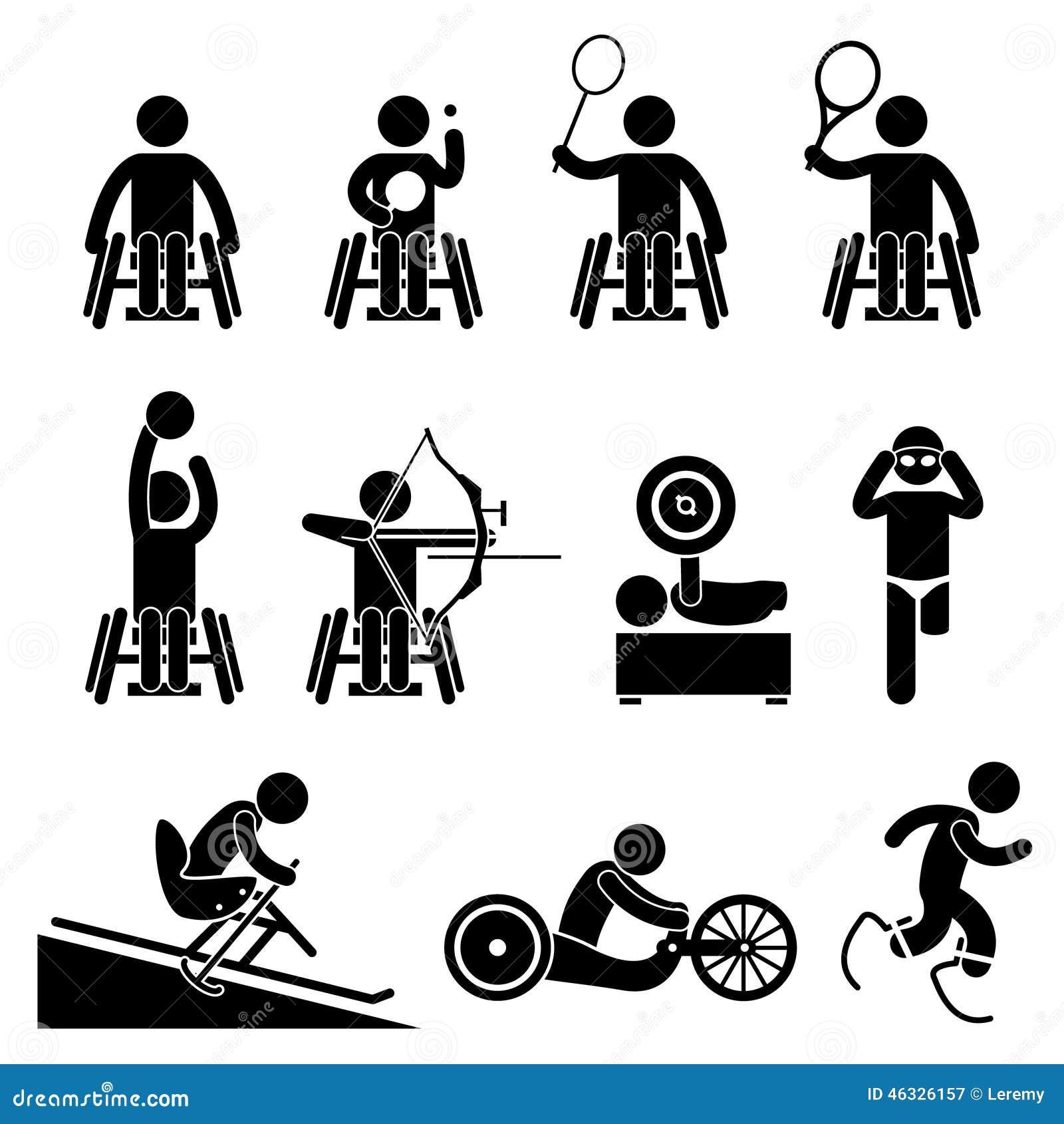 Icônes de Cliparts de jeux de Paralympic de sport d handicap de débronchement