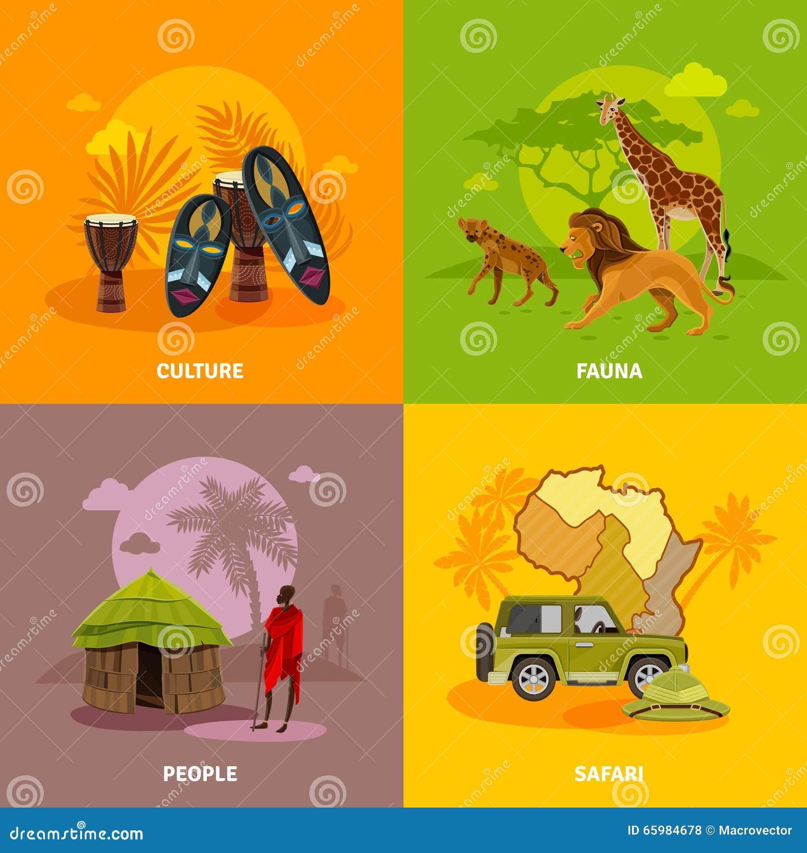 Icônes de concept de l Afrique réglées