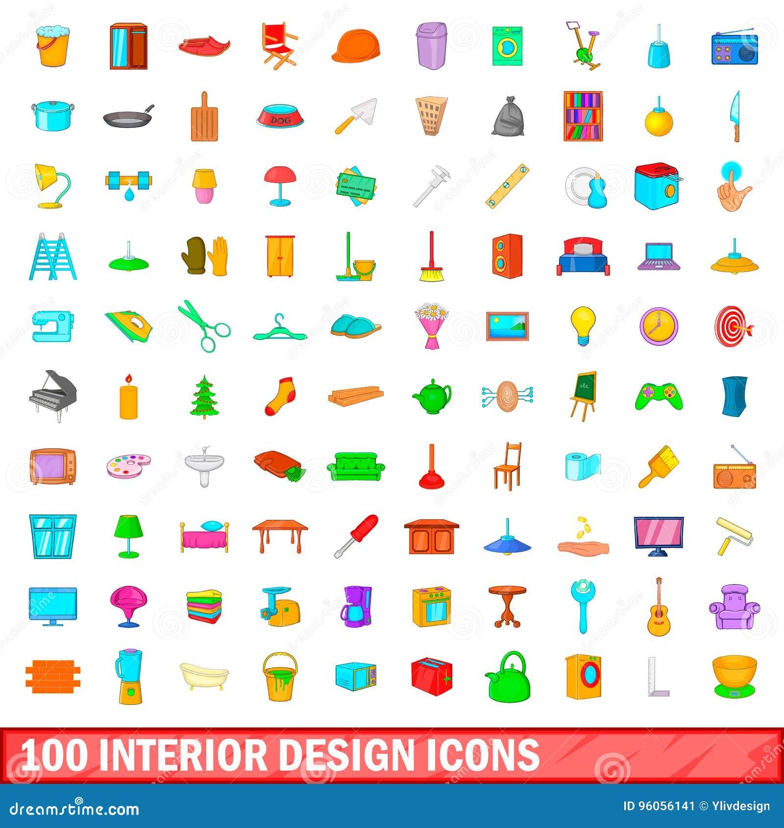 100 icônes de conception intérieure réglées, style de bande dessinée