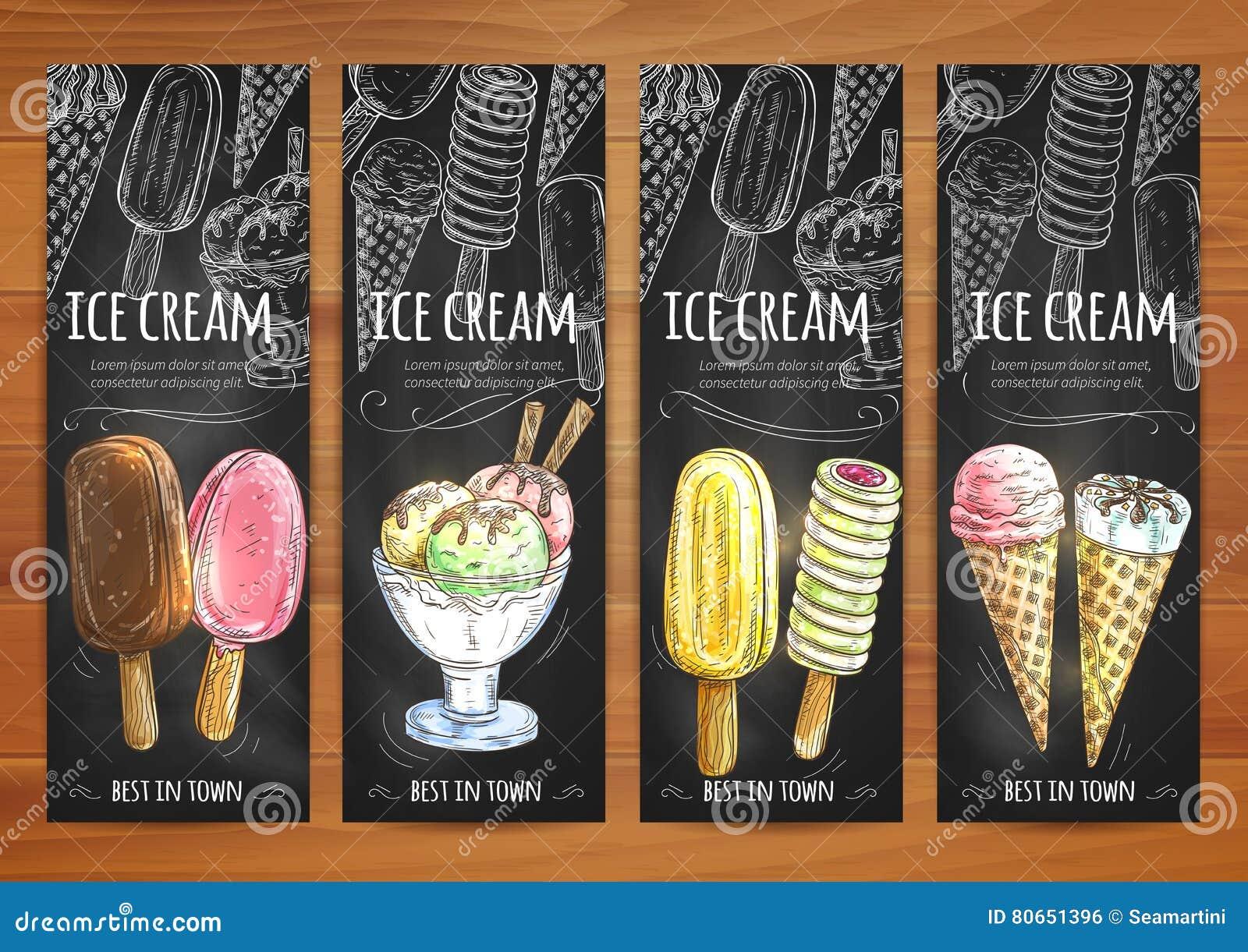 Icônes de craie de croquis de menu de crème glacée sur le tableau noir