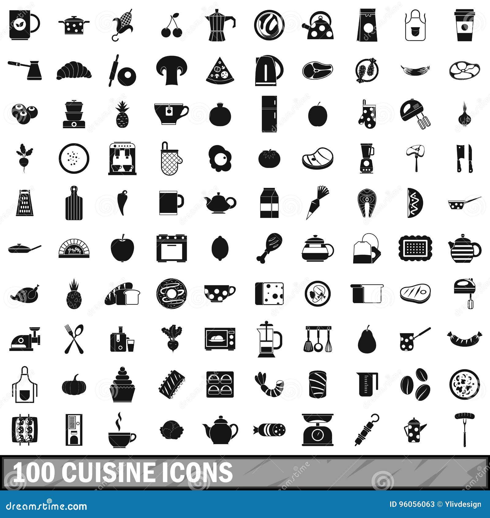 100 icônes de cuisine réglées, style simple
