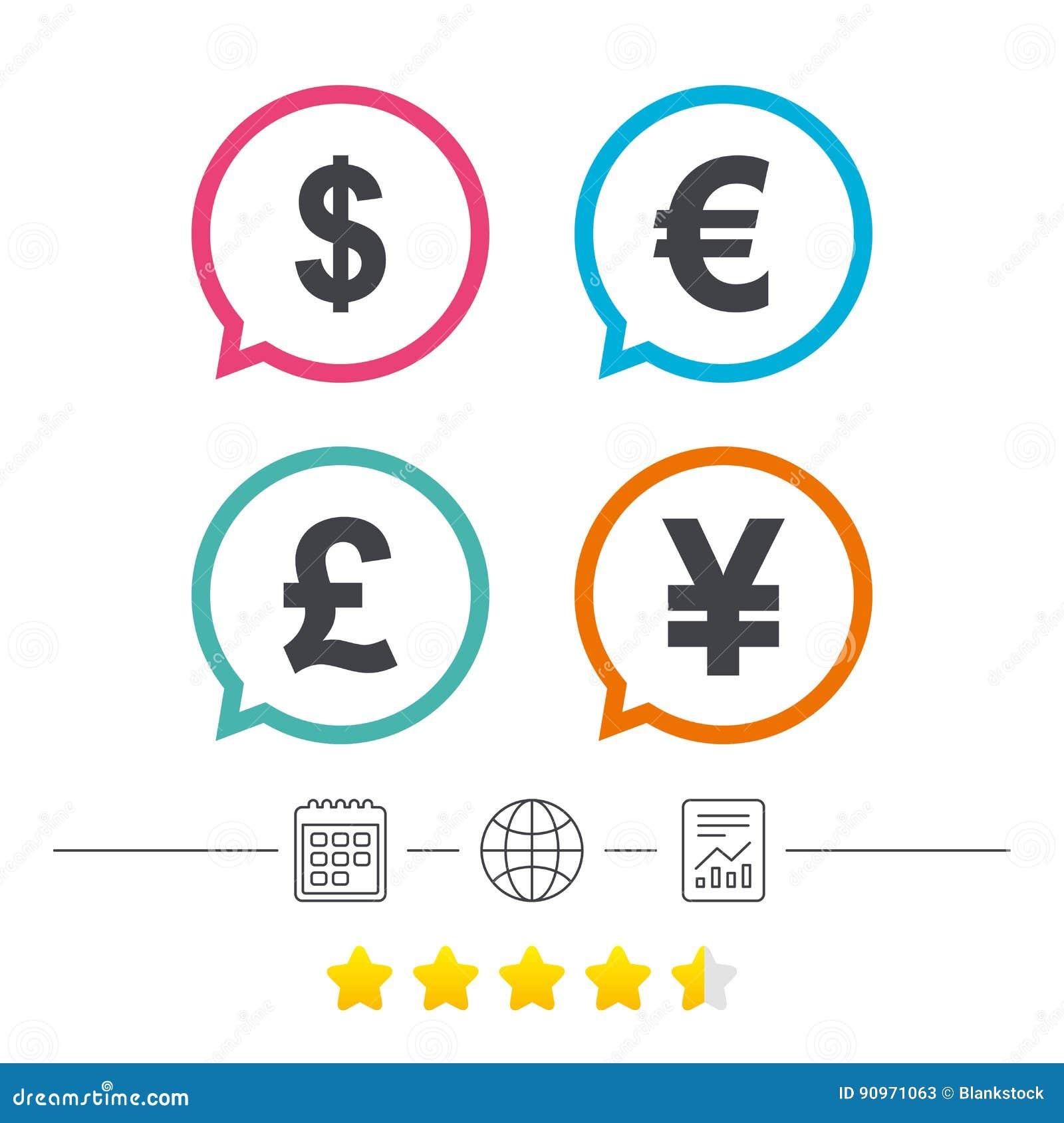 Icones De Devise Du Dollar D Euro De Livre Et De Yens