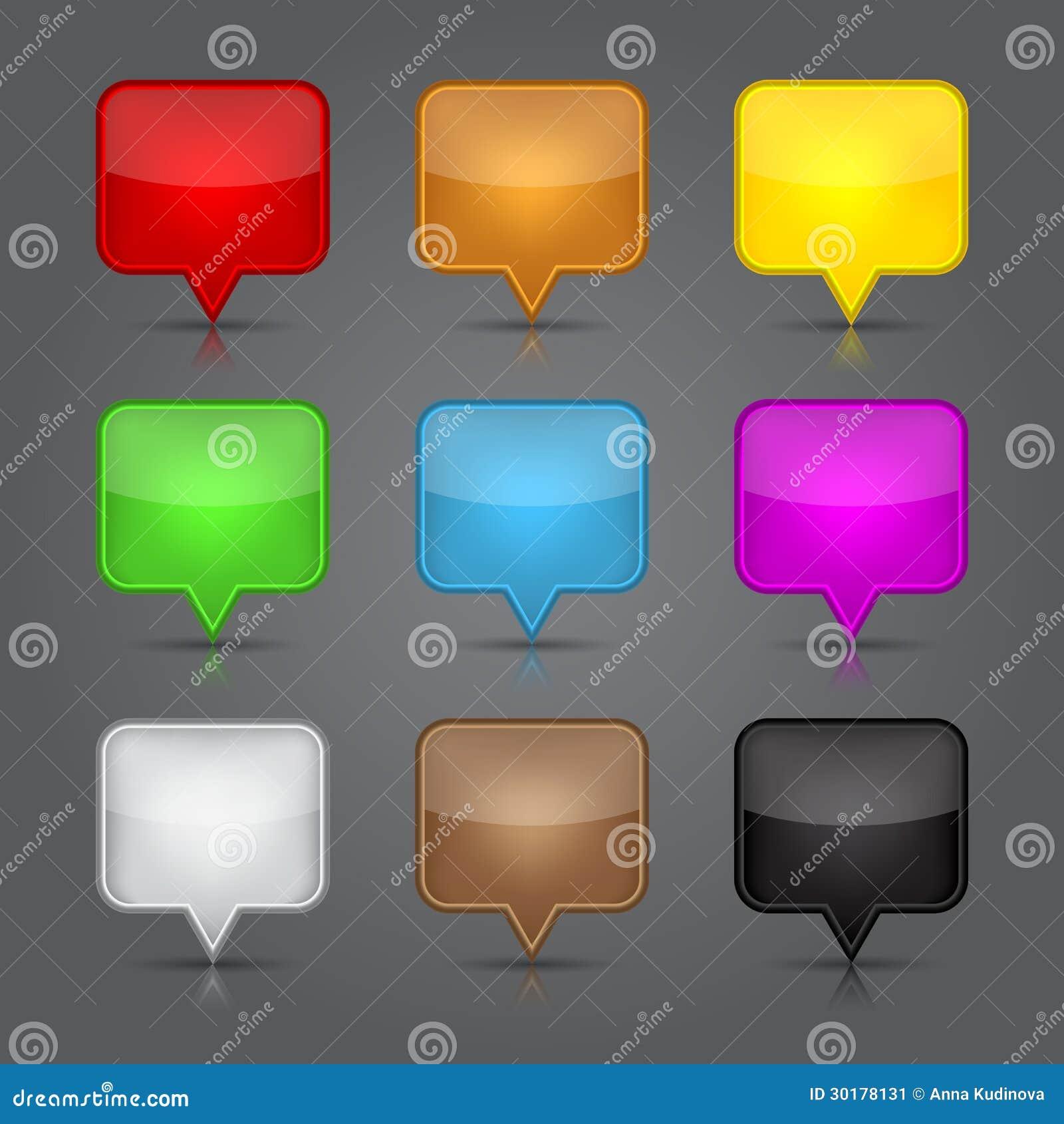 Icônes de $$etAPP réglées. Bouton vide brillant de Web d icône de goupille de carte.