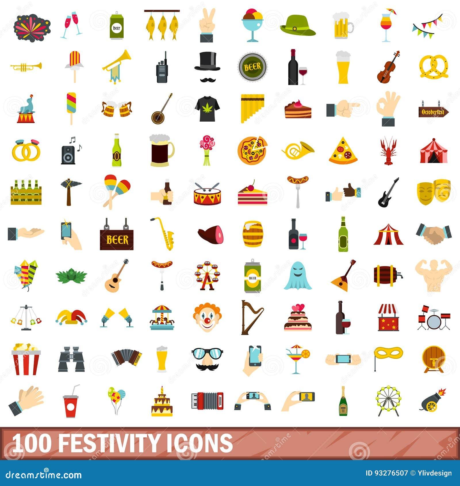 100 icônes de festivité réglées, style plat