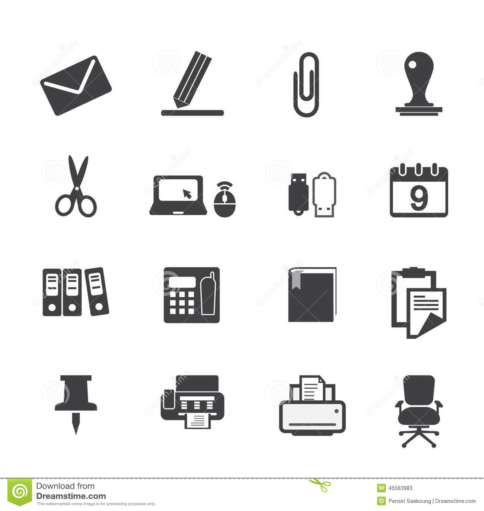 ic nes de fournitures de bureau r gl es illustration de. Black Bedroom Furniture Sets. Home Design Ideas