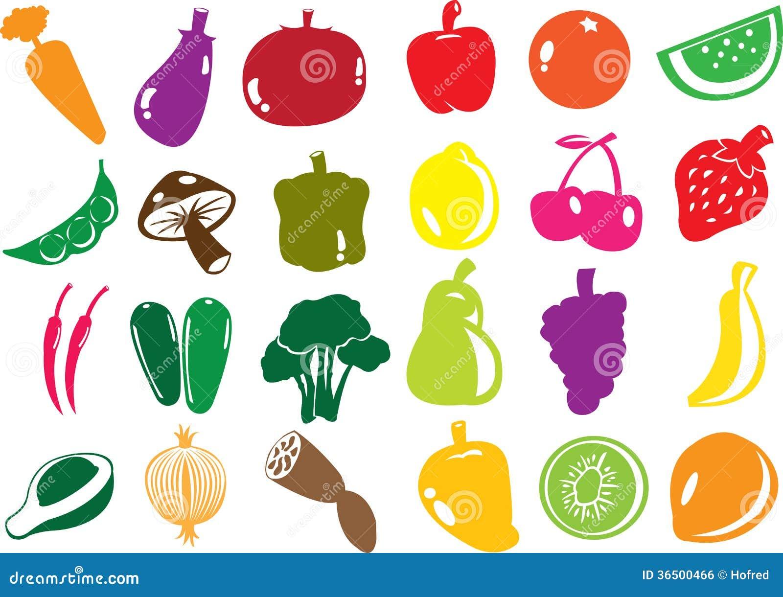 Icônes de fruits et légumes de vecteur.
