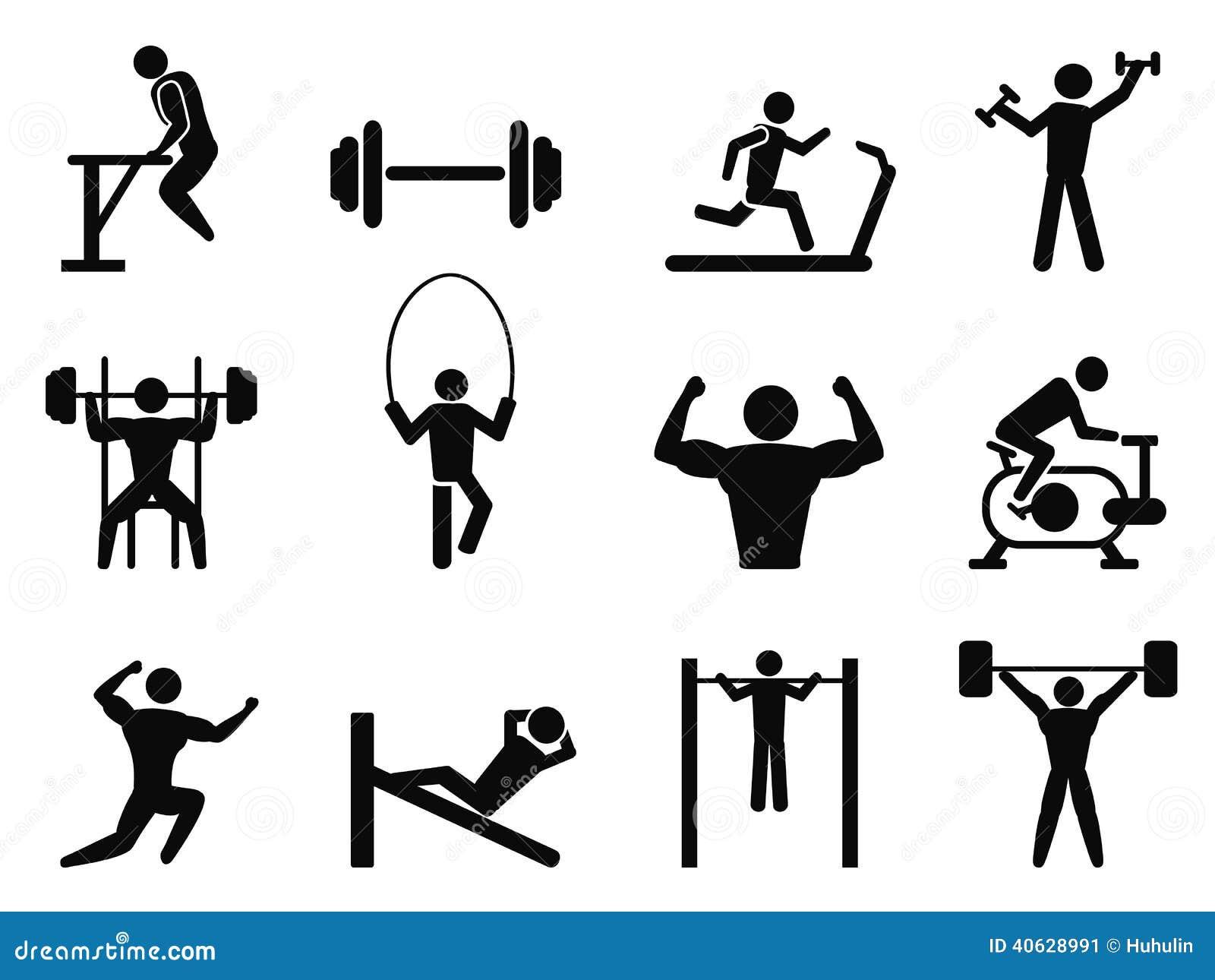 Ic nes de gymnase et de musculation illustration de - Musculation dessin ...