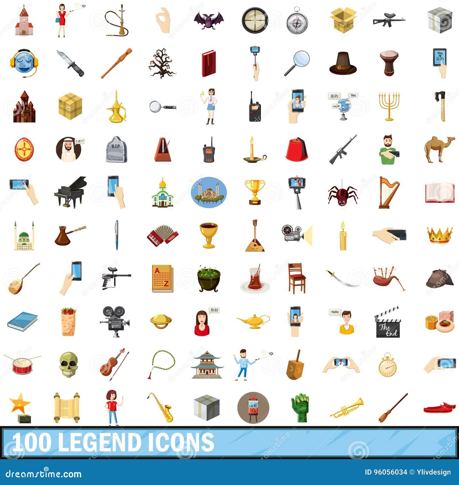 100 icônes de légende réglées, style de bande dessinée