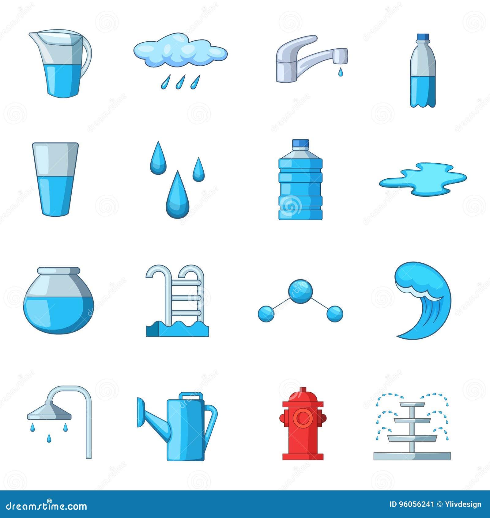 Icônes de l eau réglées, style de bande dessinée