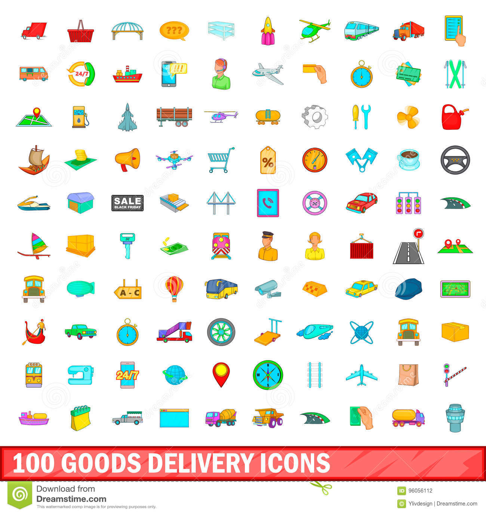 100 icônes de la livraison de marchandises réglées, style de bande dessinée