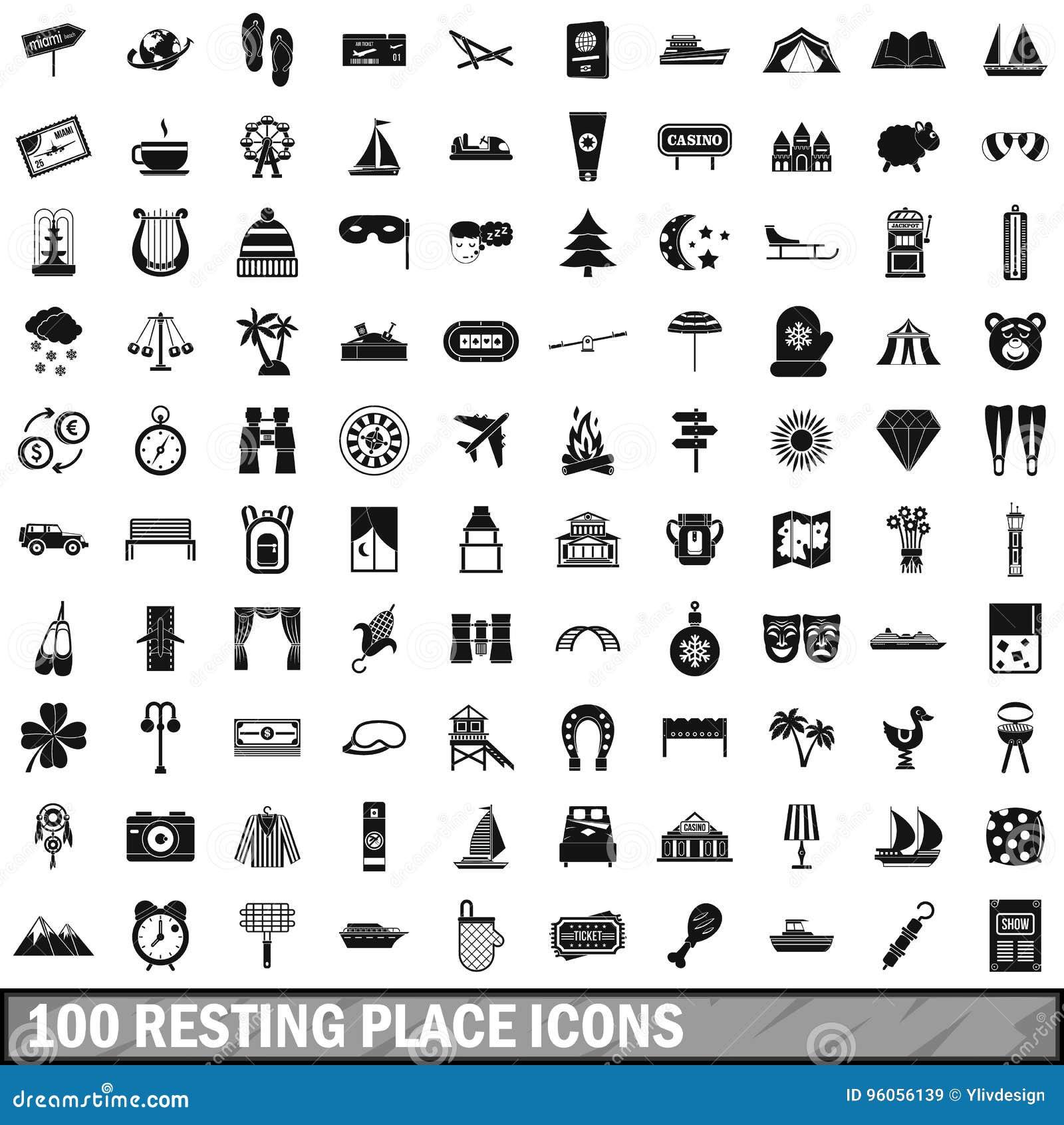 100 icônes de lieu de repos réglées, style simple