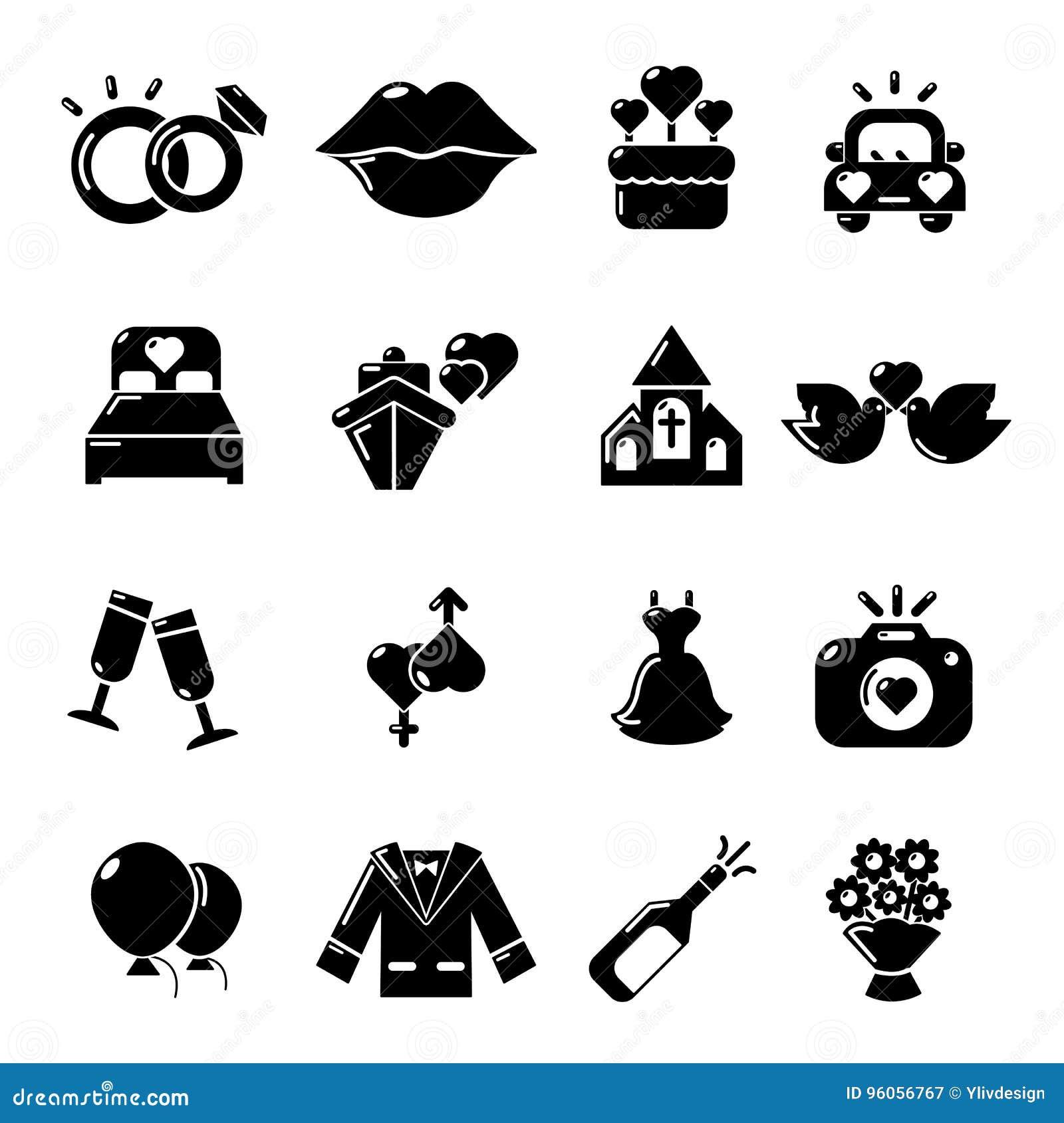 Icônes de mariage réglées, style simple