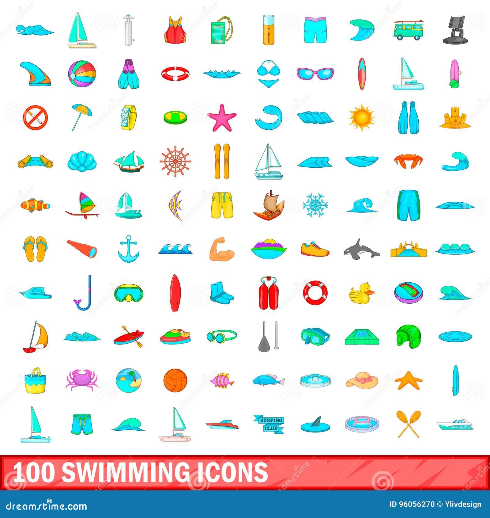 100 icônes de natation réglées, style de bande dessinée