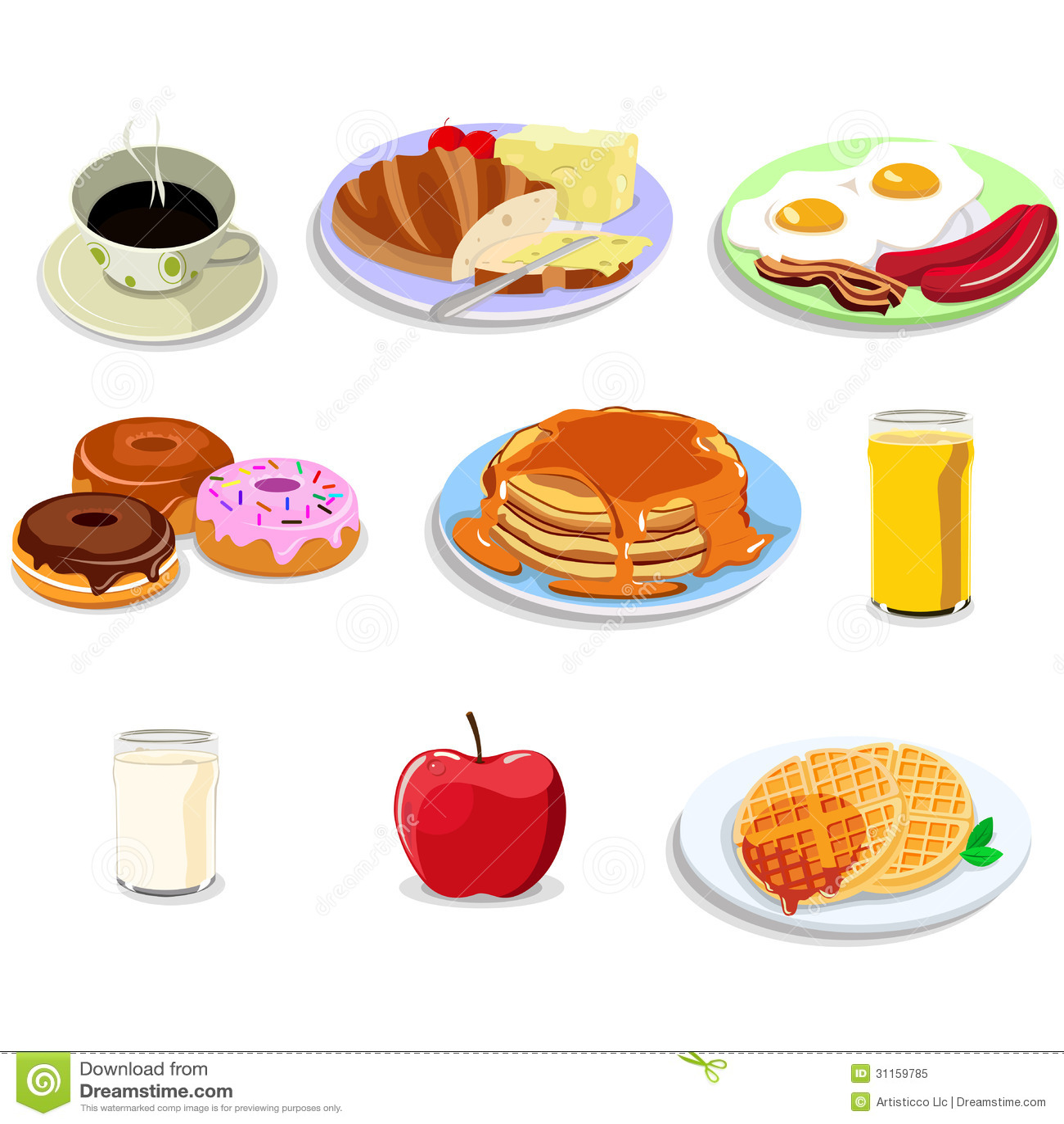 Icônes de nourriture de petit déjeuner
