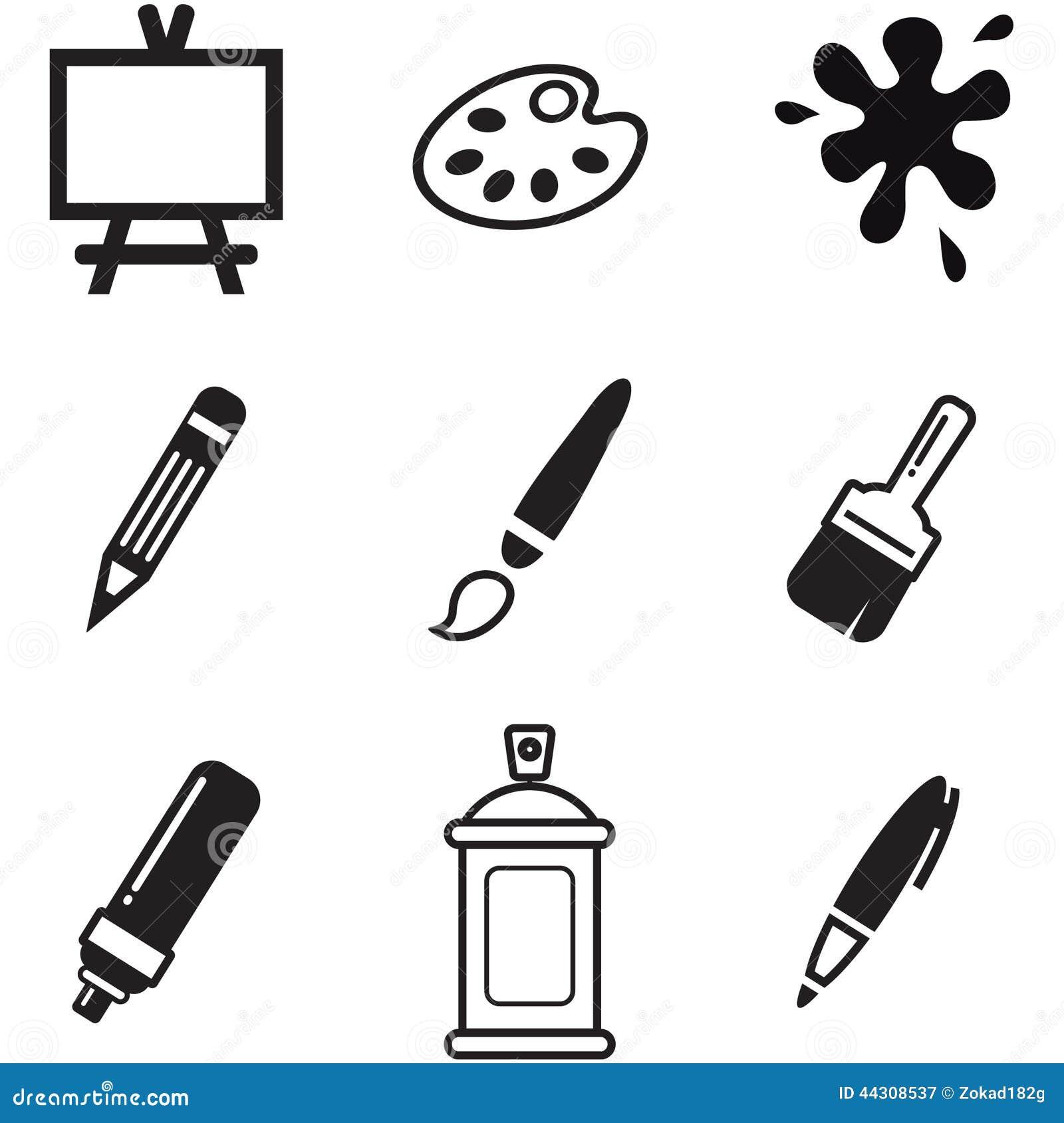 ic nes de peinture ou d 39 outils de dessin illustration de vecteur illustration du encre. Black Bedroom Furniture Sets. Home Design Ideas